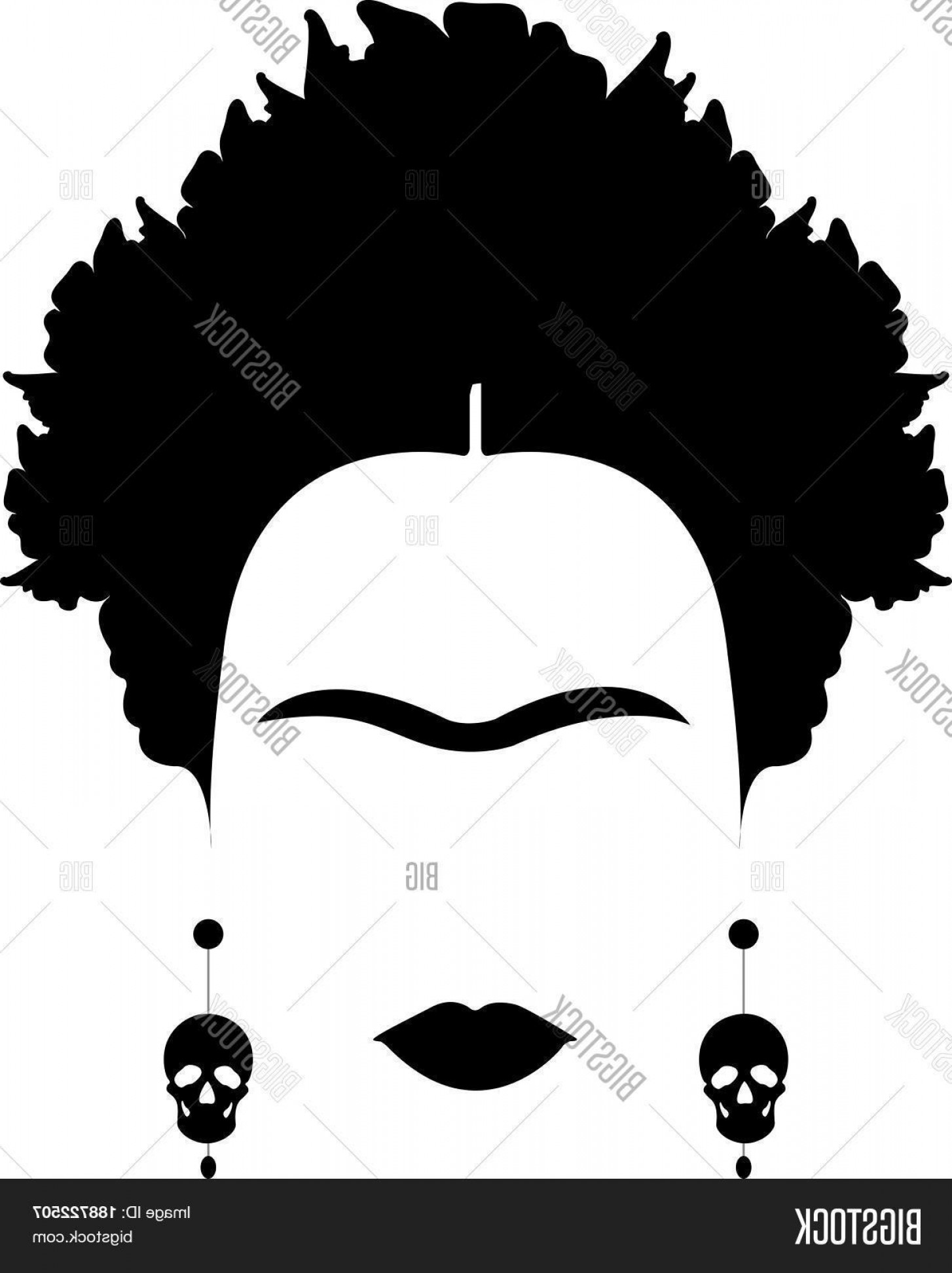 Frida Black And White Vector: Stock Vector Portrait Of Mexican Or Spanish Woman Minimalist Frida Kahlo With Earrings Skullsc Vector Isolated