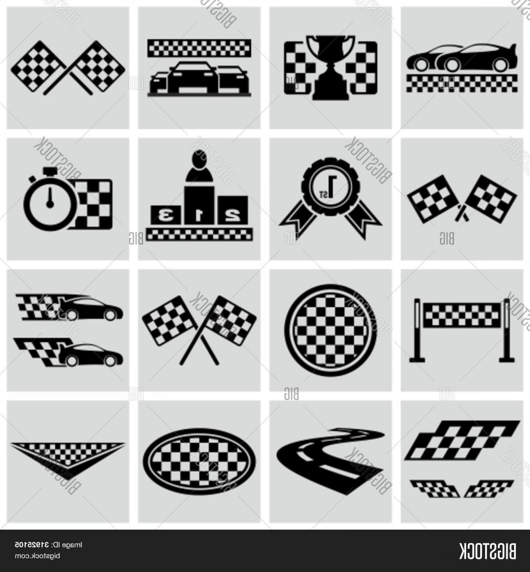 Black And White Vector Racing Graphics: Stock Vector Racing And Speed Related Icons Set Vector Racing Checkered Graphic Elements