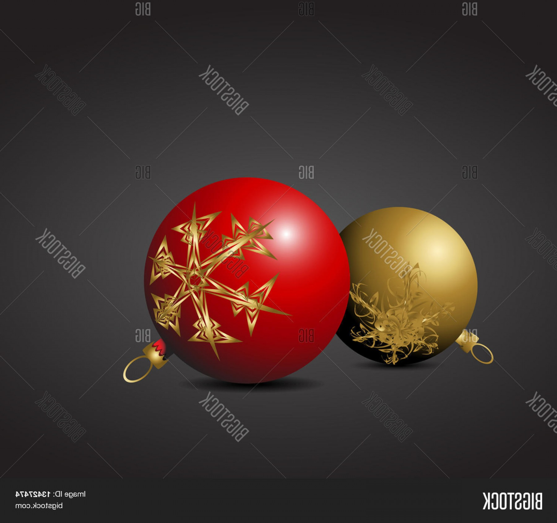 3 Glass Christmas Bulb Vector: Stock Vector Red And Golden Christmas Bulbs With Snowflakes Ornaments
