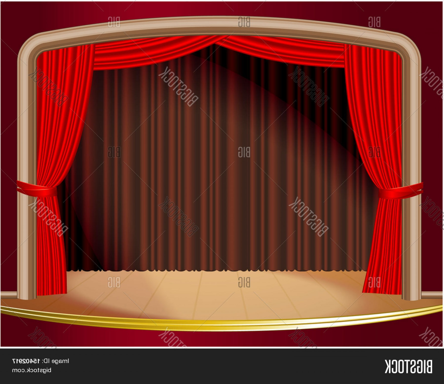 Stage Curtain Vector: Stock Vector Red Stage Curtain Vector