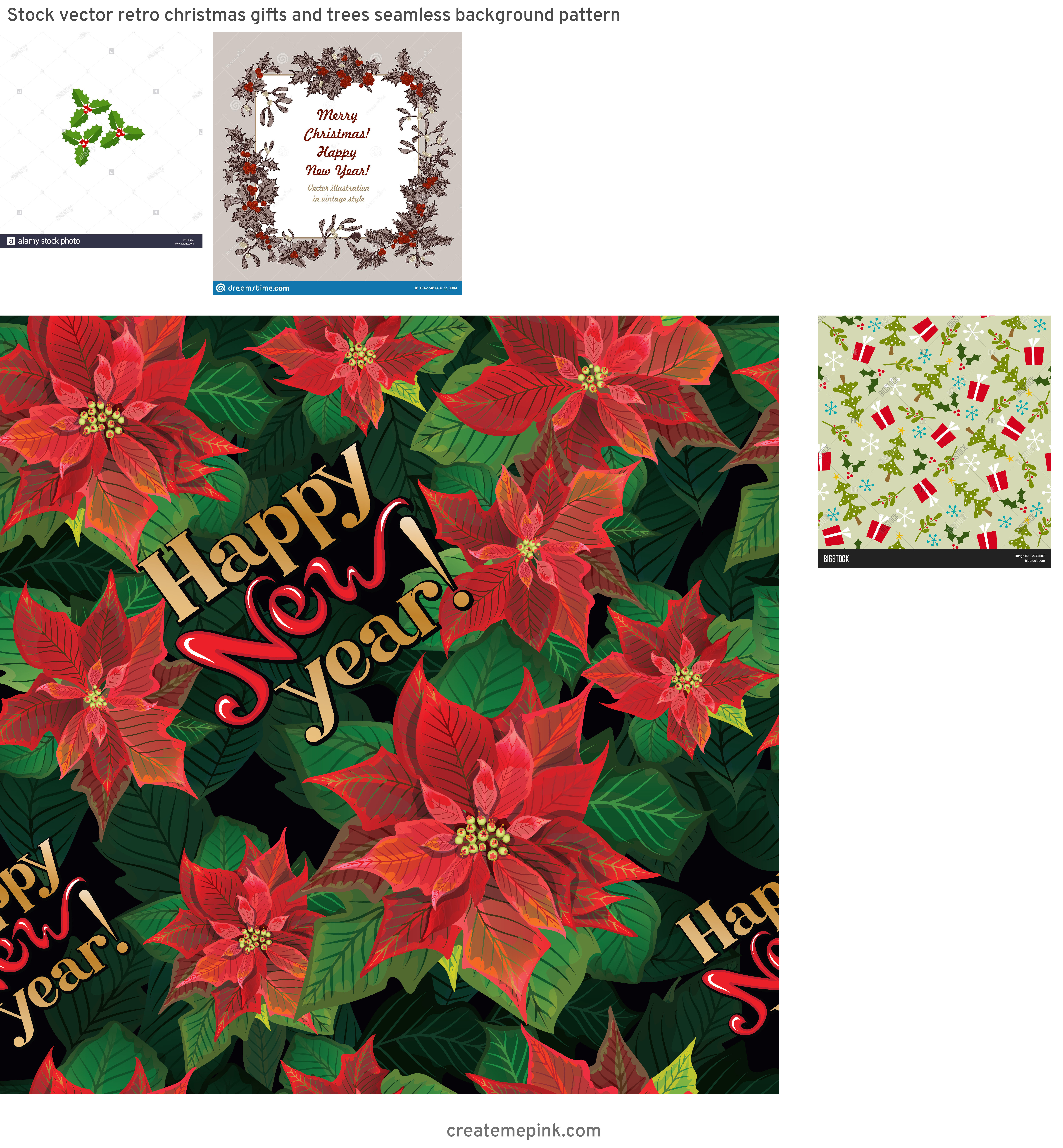 Vintage Look Holly Leaves Vector: Stock Vector Retro Christmas Gifts And Trees Seamless Background Pattern