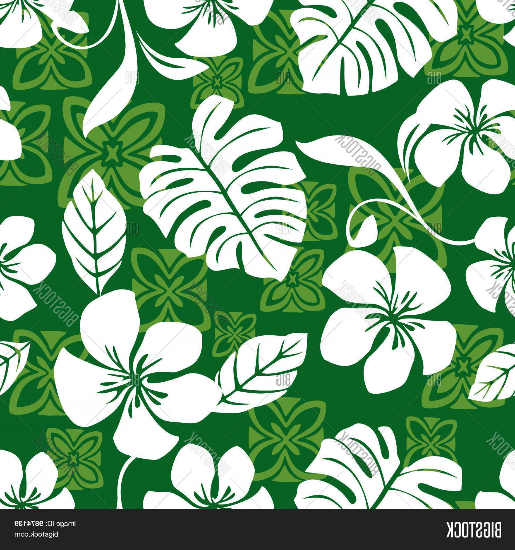 Hawaiian Pattern Vector: Stock Vector Seamless Aloha Friday Hawaiian Shirt Pattern