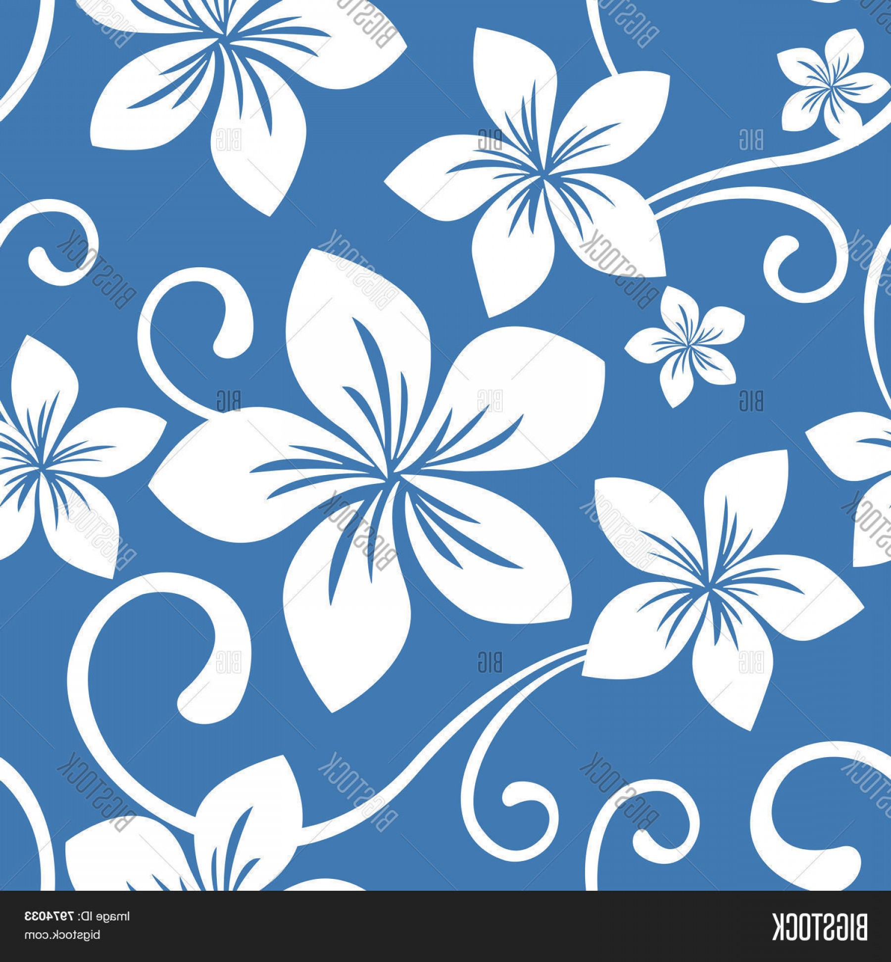 Hawaiian Pattern Vector: Stock Vector Seamless Blue Hawaii Pattern