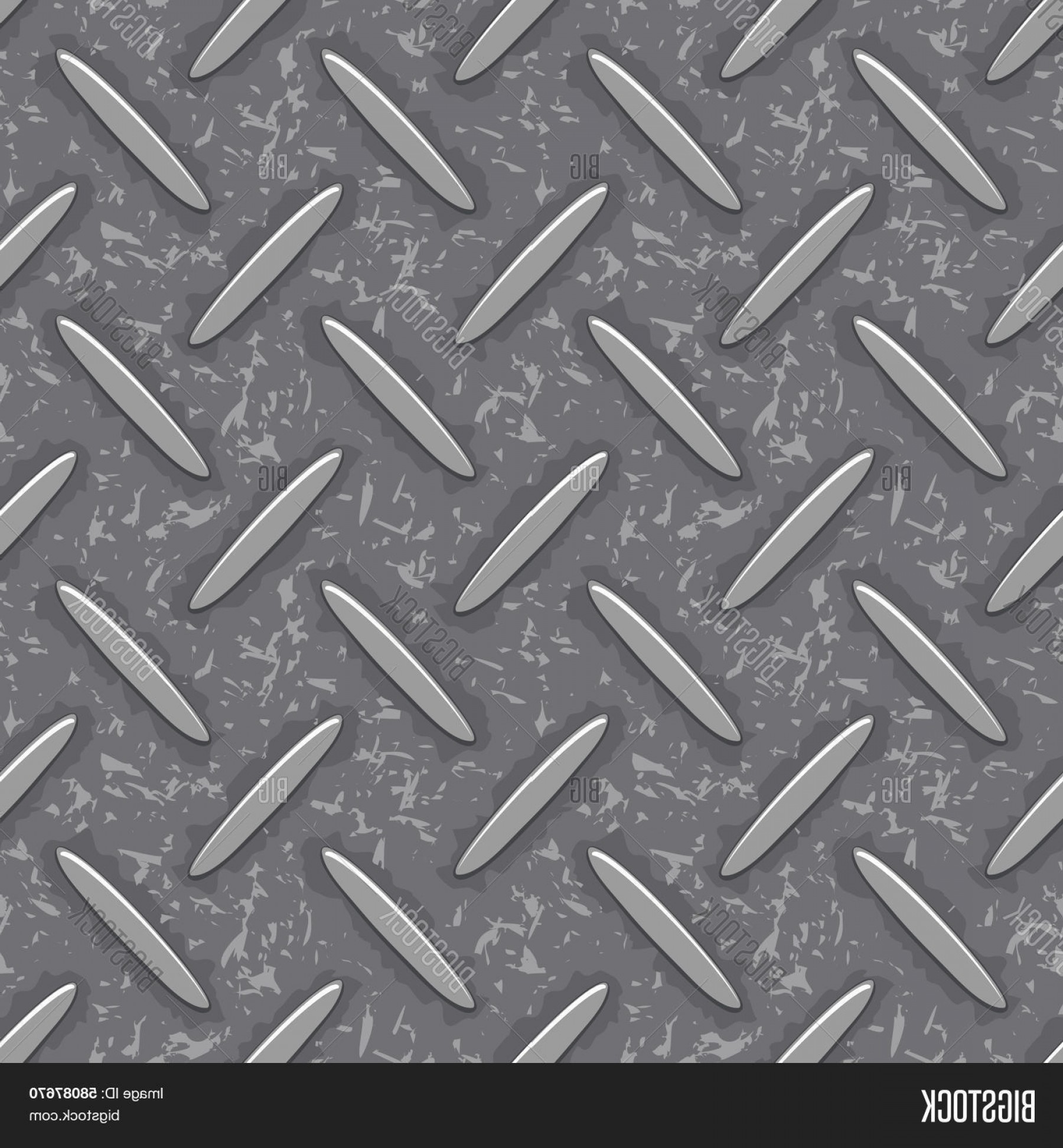 Diamond Plate Vector Pattern: Stock Vector Seamless Steel Diamond Plate Grunge Texture