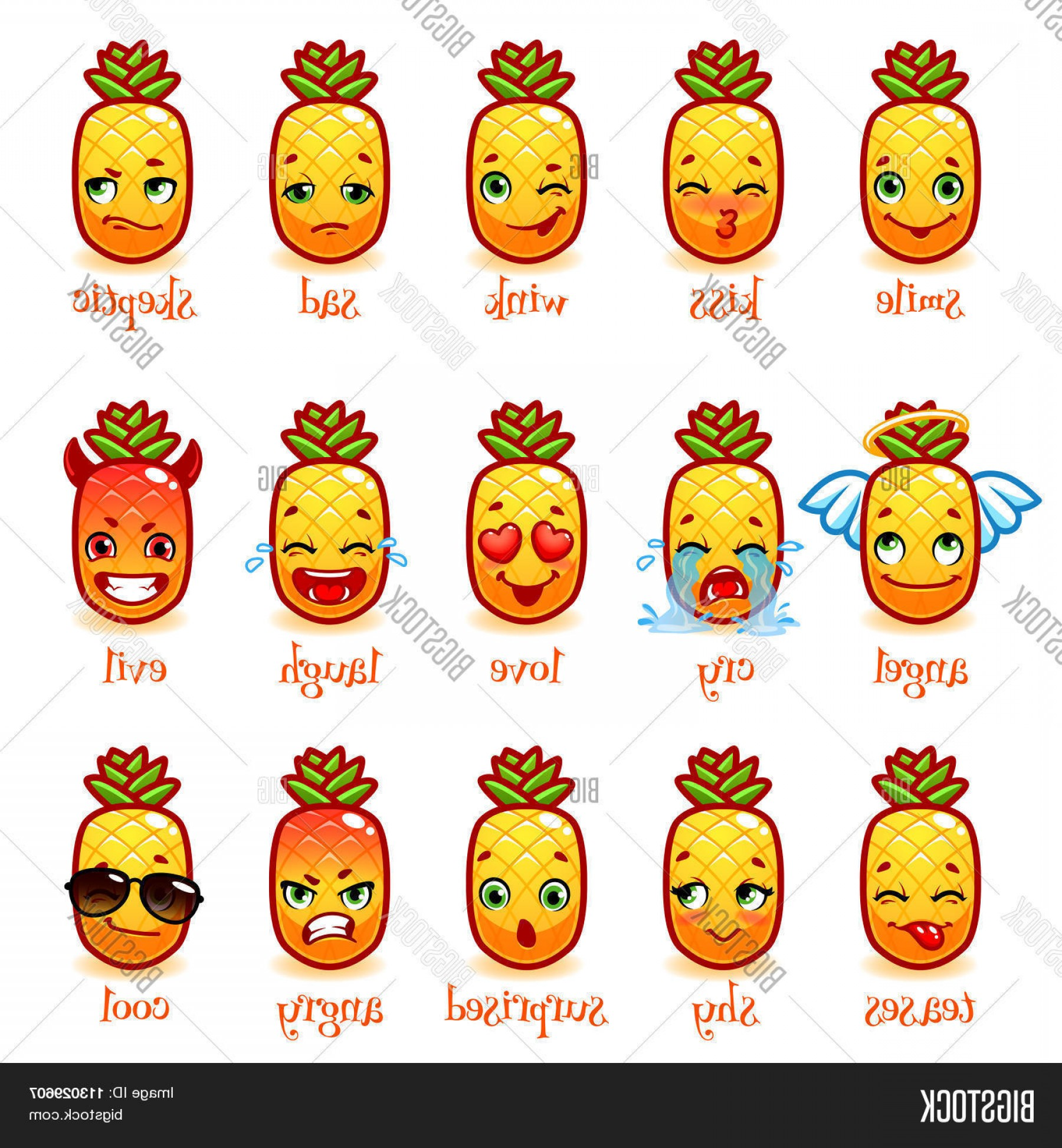 Cool Evil Vectors: Stock Vector Set Of Emoticons Funny Pineapple