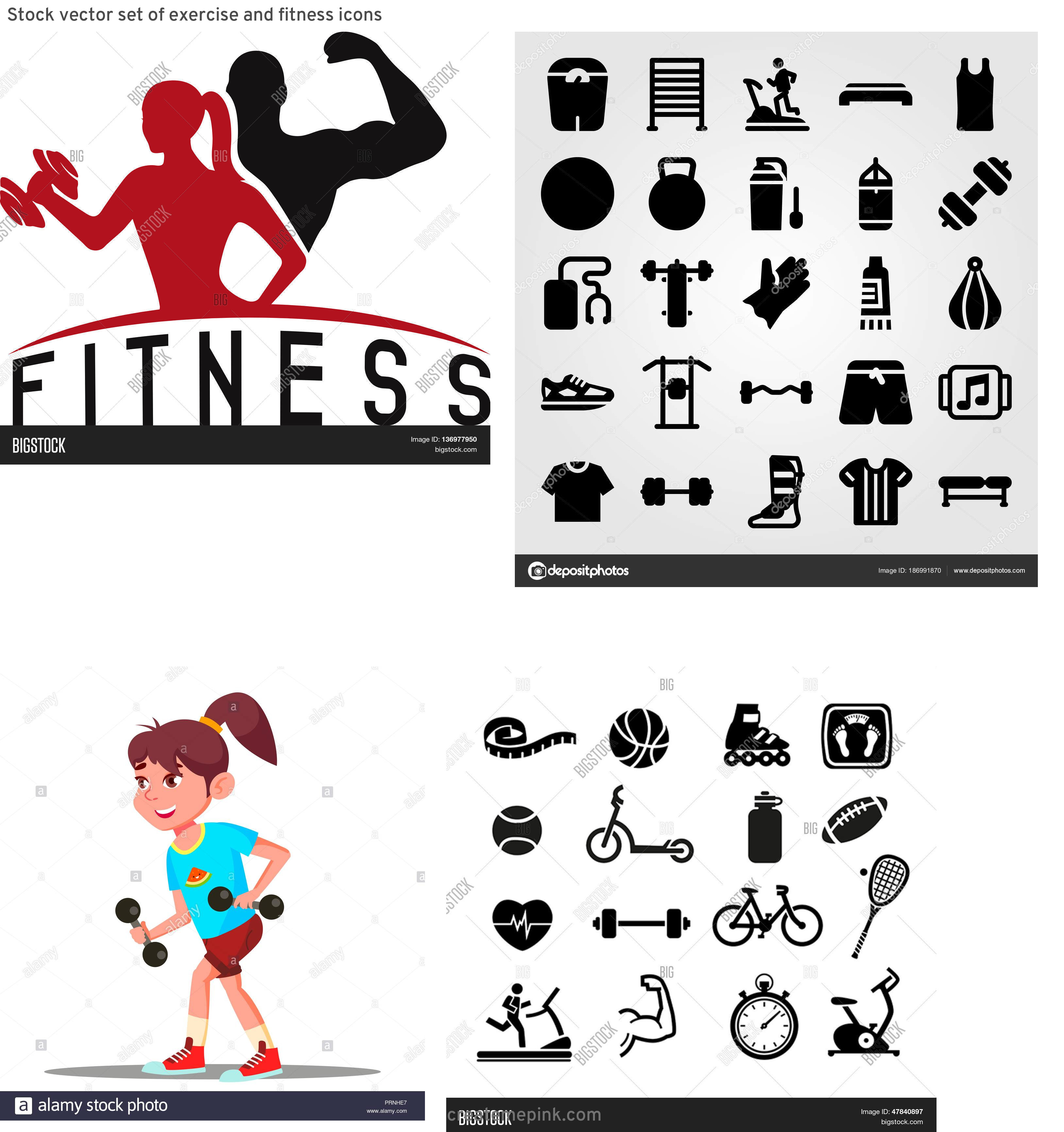 Fitness Vector Art: Stock Vector Set Of Exercise And Fitness Icons