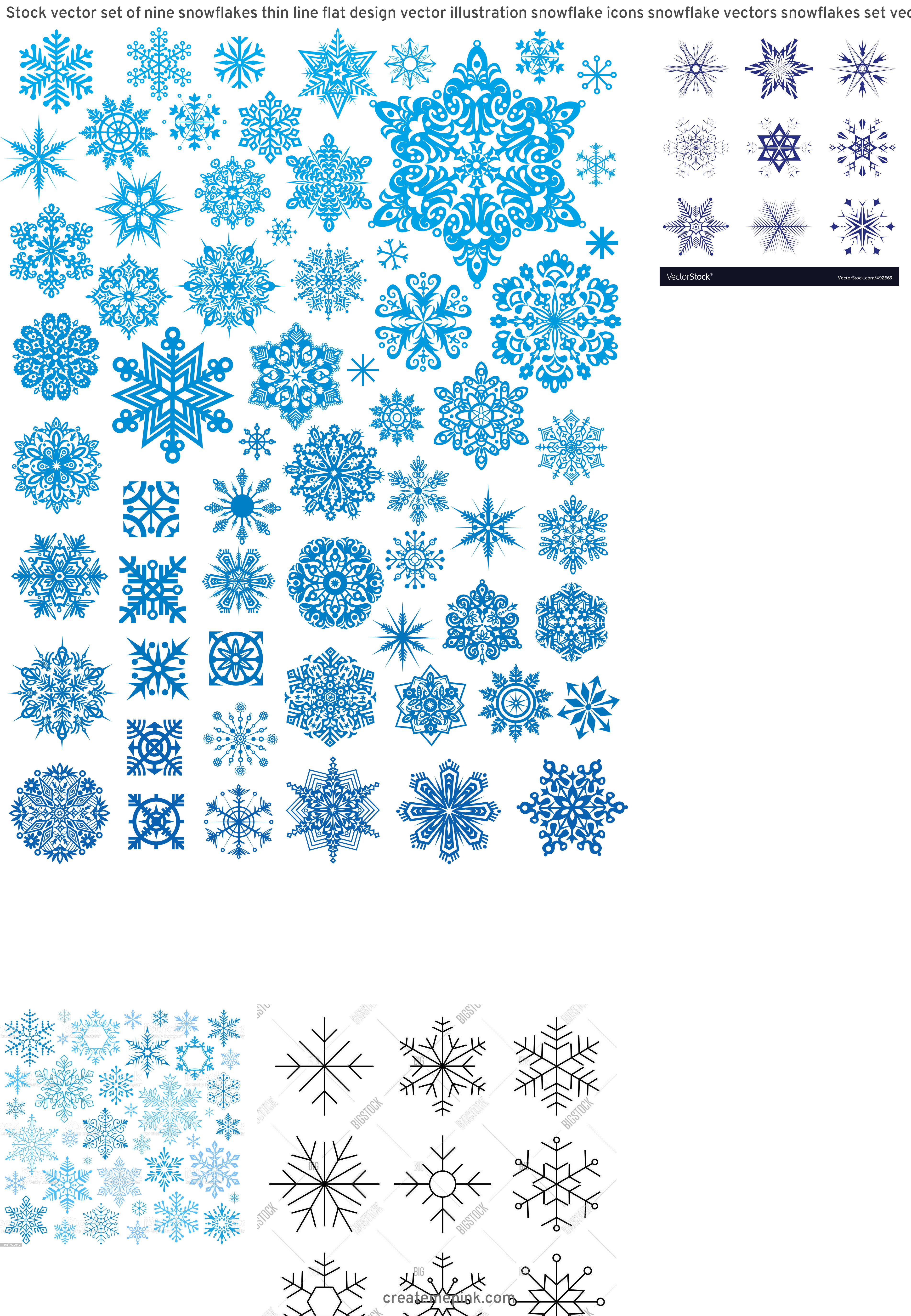 Free Vector Snow Flakes: Stock Vector Set Of Nine Snowflakes Thin Line Flat Design Vector Illustration Snowflake Icons Snowflake Vectors Snowflakes Set Vector Illustration