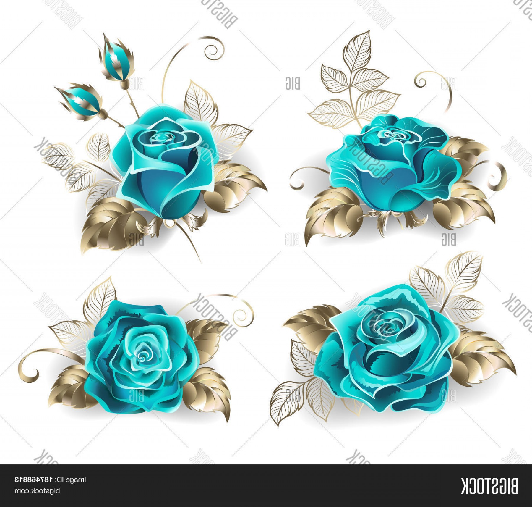 Gold And Blue Flower Vector: Stock Vector Set Of Turquoise Rosesc With Leaves Of White Gold On A White Background Blue Tiffany Fashionable Color Turquoise Rose