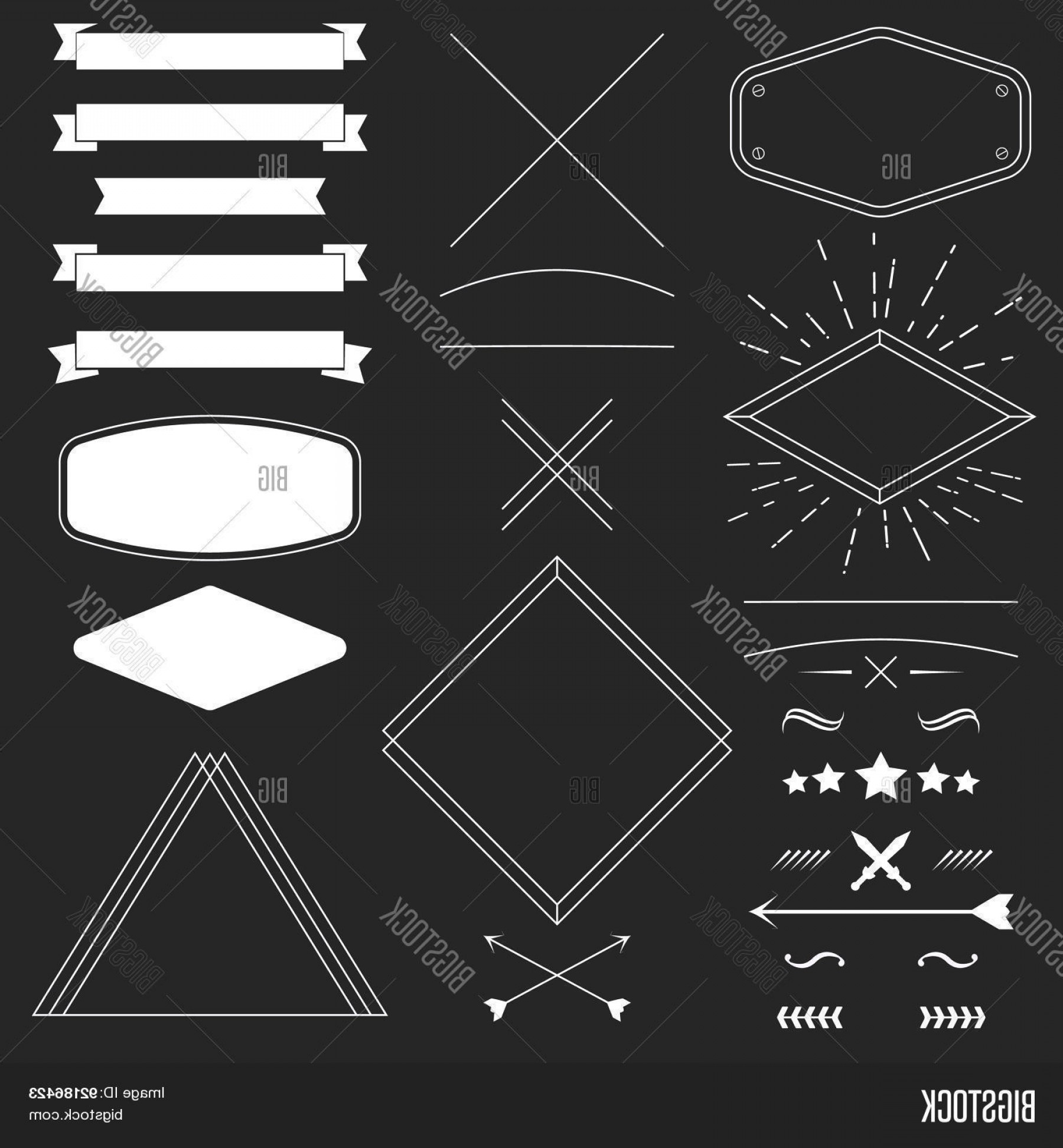 Hipster Vector Ribbon: Stock Vector Set Of Vintage Hipster Design Elements Like Framesc Ribbonsc Badgesc Divider Vector Illustration Fo