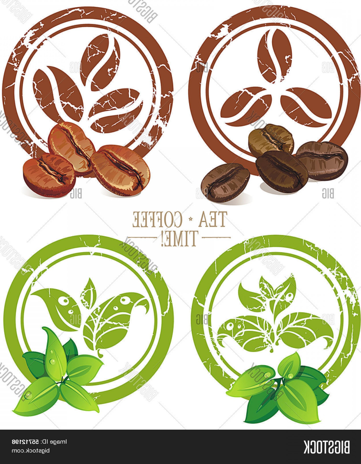 Tea Leaf Vector Art: Stock Vector Set Of Vintage Icons With Coffee Beans And Tea Leaves Vector Illustration