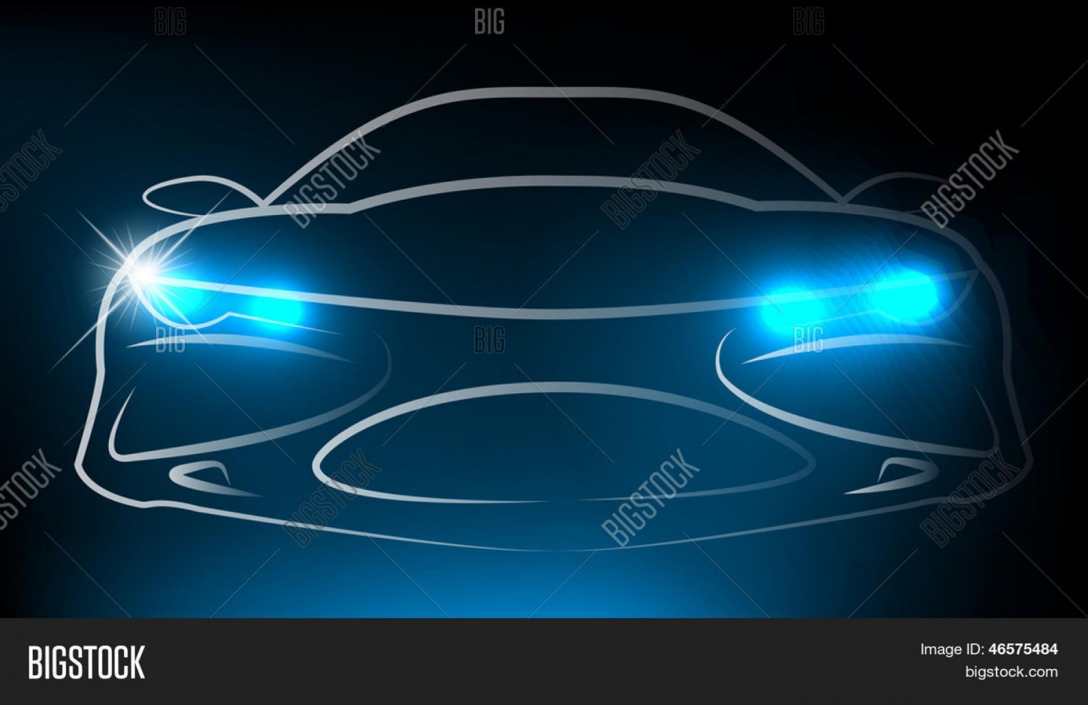 Vector Round Headlight: Stock Vector Silhouette Of Car With Headlight Vector Illustration