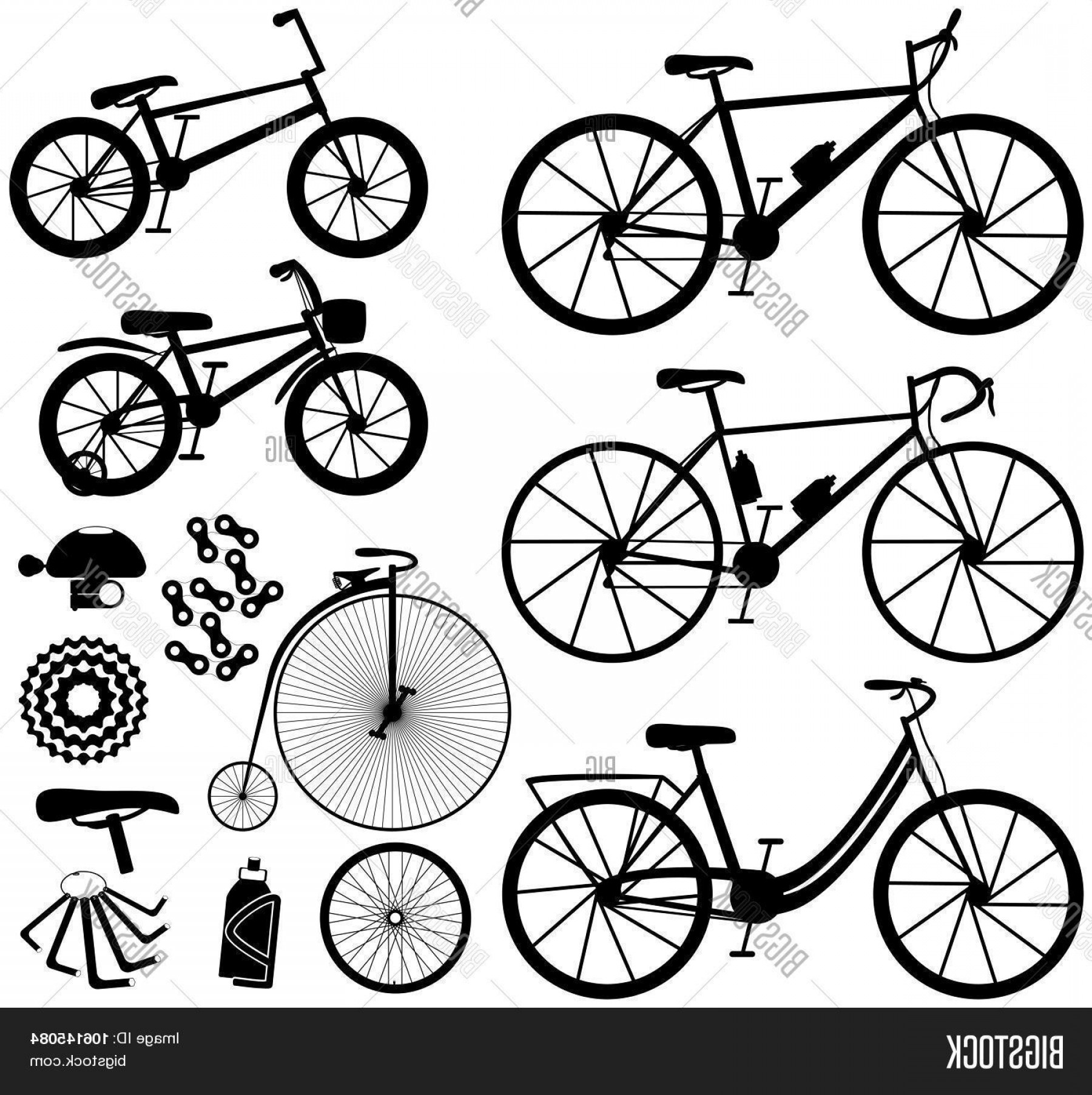 BMX Bike Tire Vector: Stock Vector Six Kinds Of Bicyclesa Mountain Or Cross Country Bikec Road Bikec City Bikec Bmx Bikec Kids Bike A