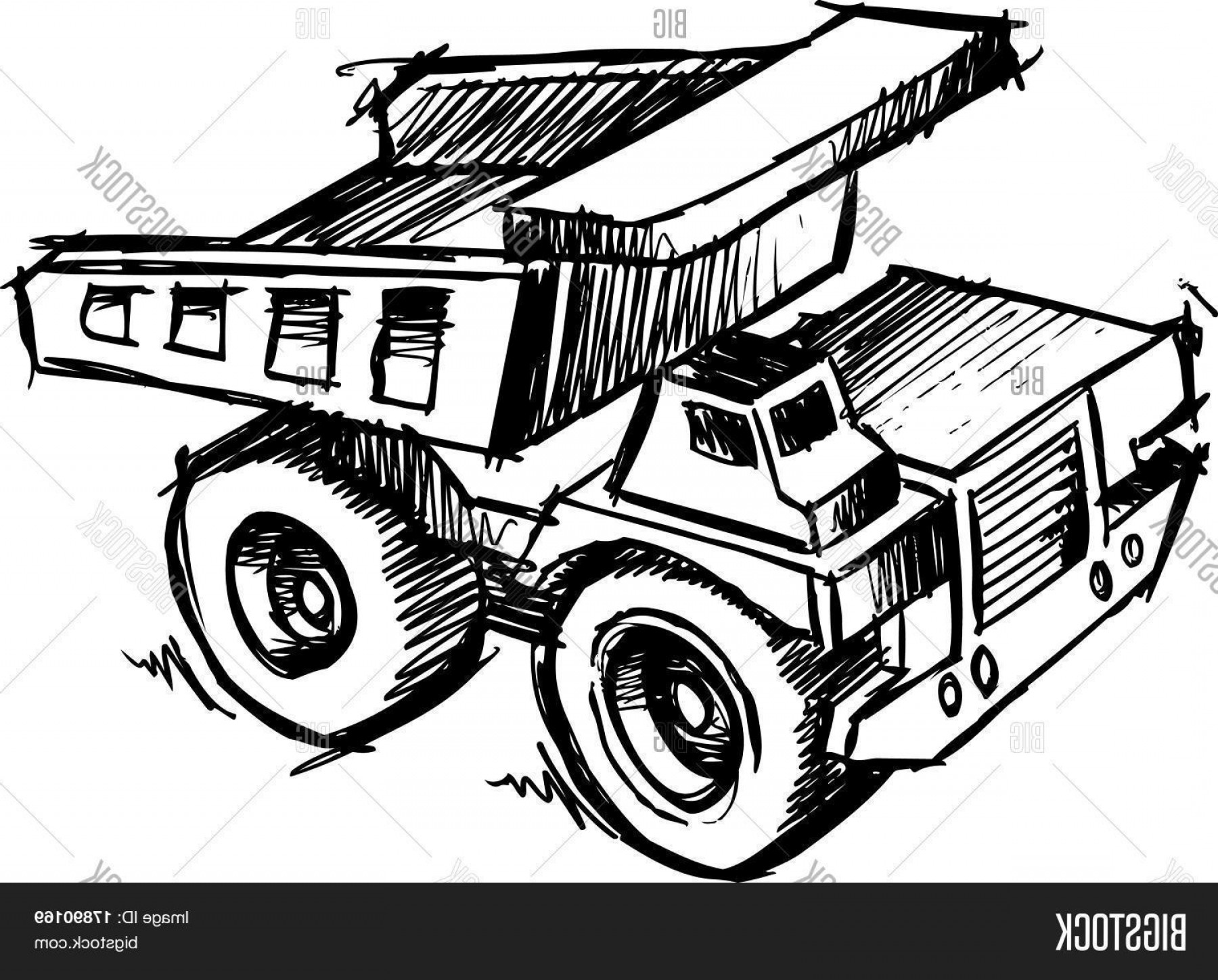 Dump Truck Vector Black And White: Stock Vector Sketch Of A Dump Truck Vector Illustration
