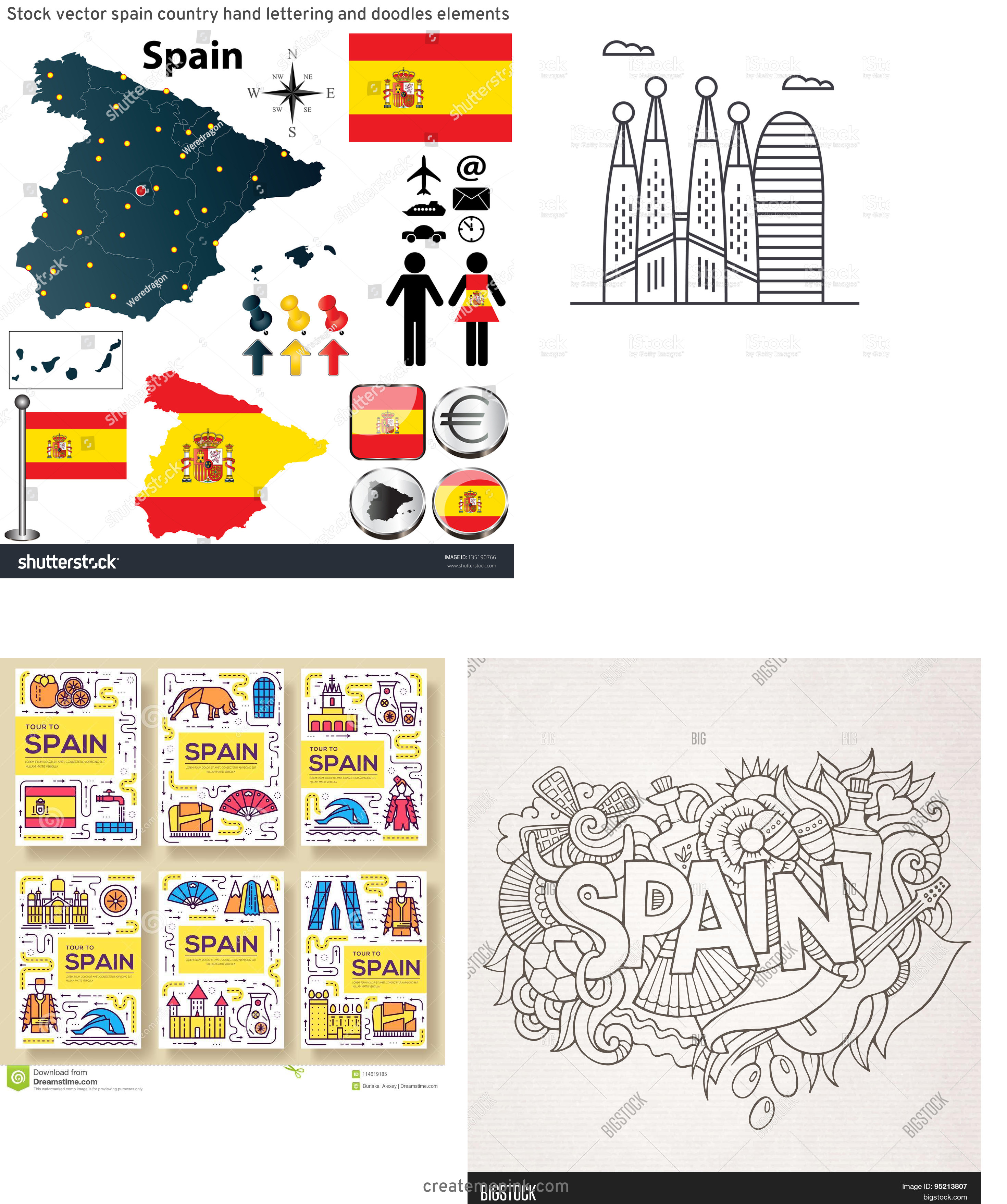 Spain Country Vectors Line: Stock Vector Spain Country Hand Lettering And Doodles Elements