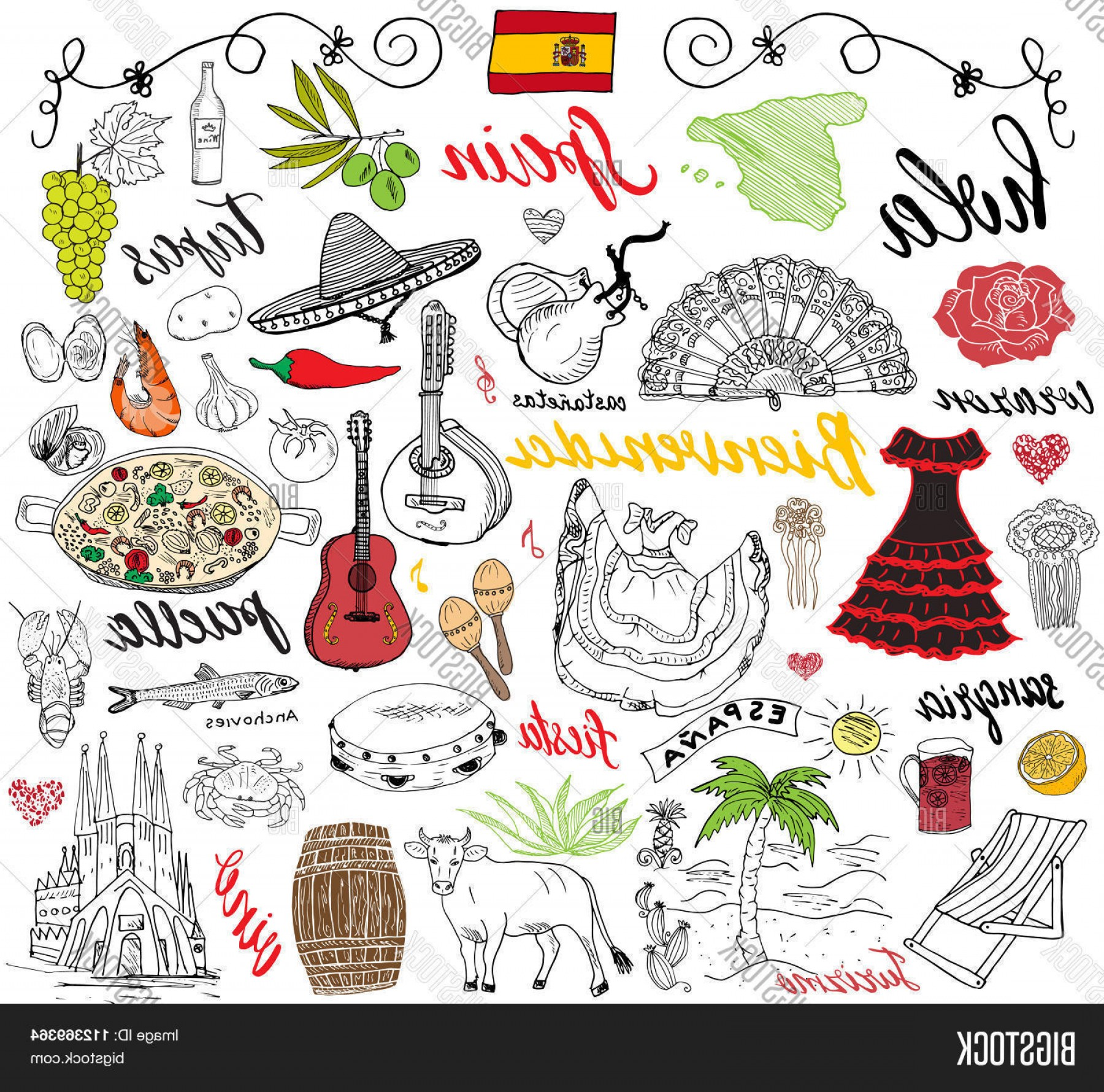 Spanish Vector Art: Stock Vector Spain Doodles Elements Hand Drawn Set With Spanish Food Paellac Shrimpsc Olivesc Grapec Fanc Wine B