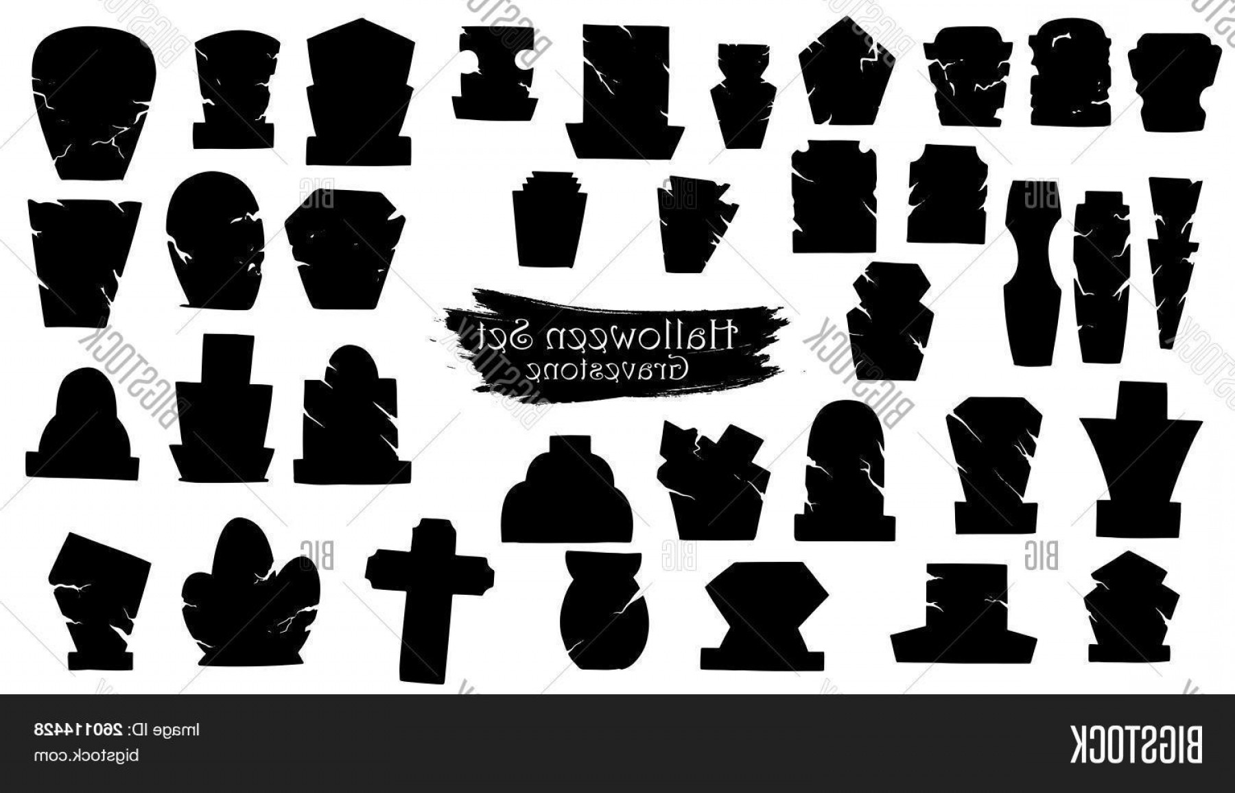 Gravestone Black And Whit Vector JPEG: Stock Vector Spooky Gravestone Cemetery Silhouette Collection Of Halloween Vector Isolated On White Background S