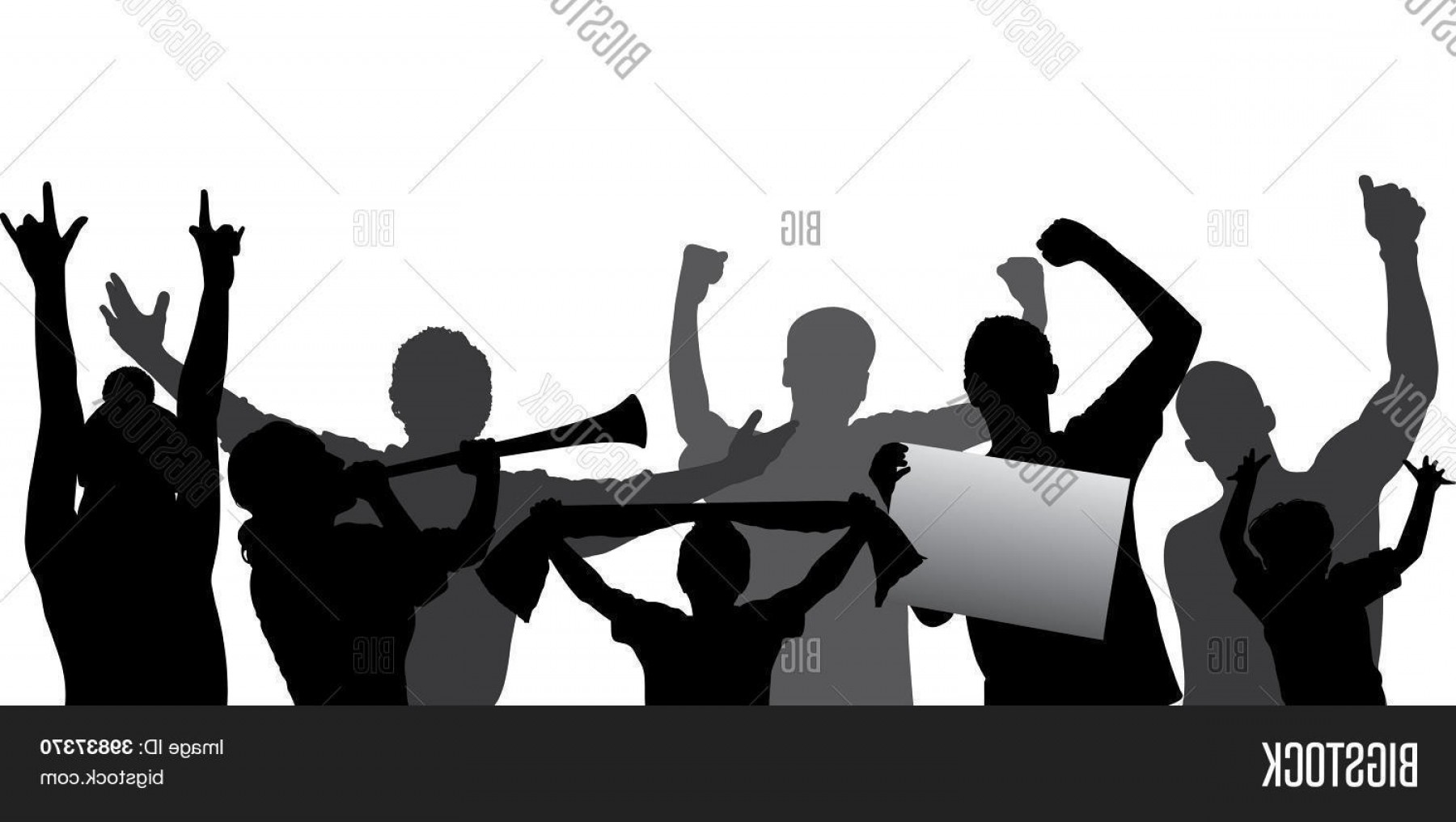 Vector Sports Crowd Cheering: Stock Vector Sports Fansc Cheering Crowd Vector Silhouettes Fully Editable