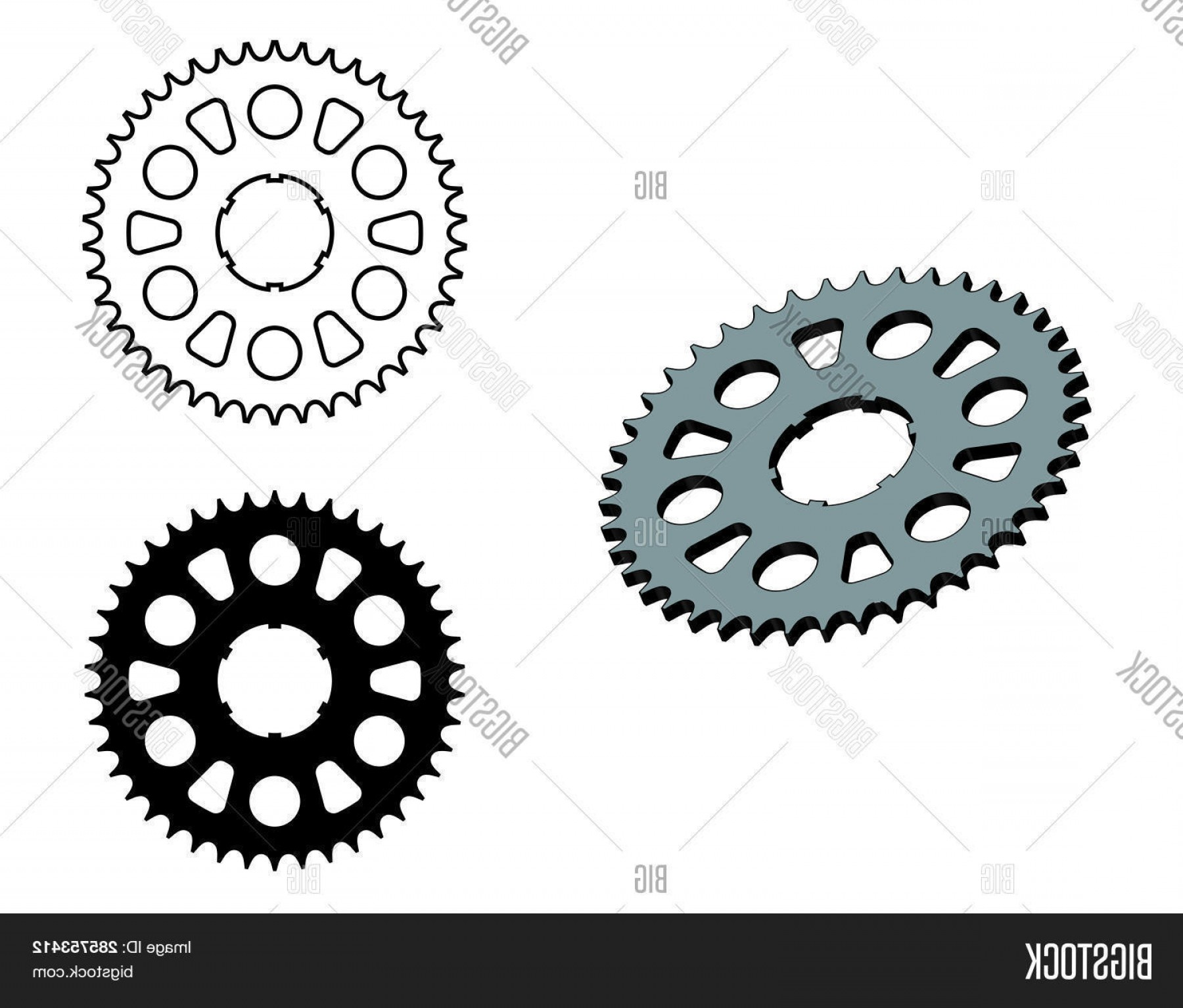 Vector Motorcycle Parts: Stock Vector Sprocket Wheel Motorcycle Parts Flat And D Effect Vector