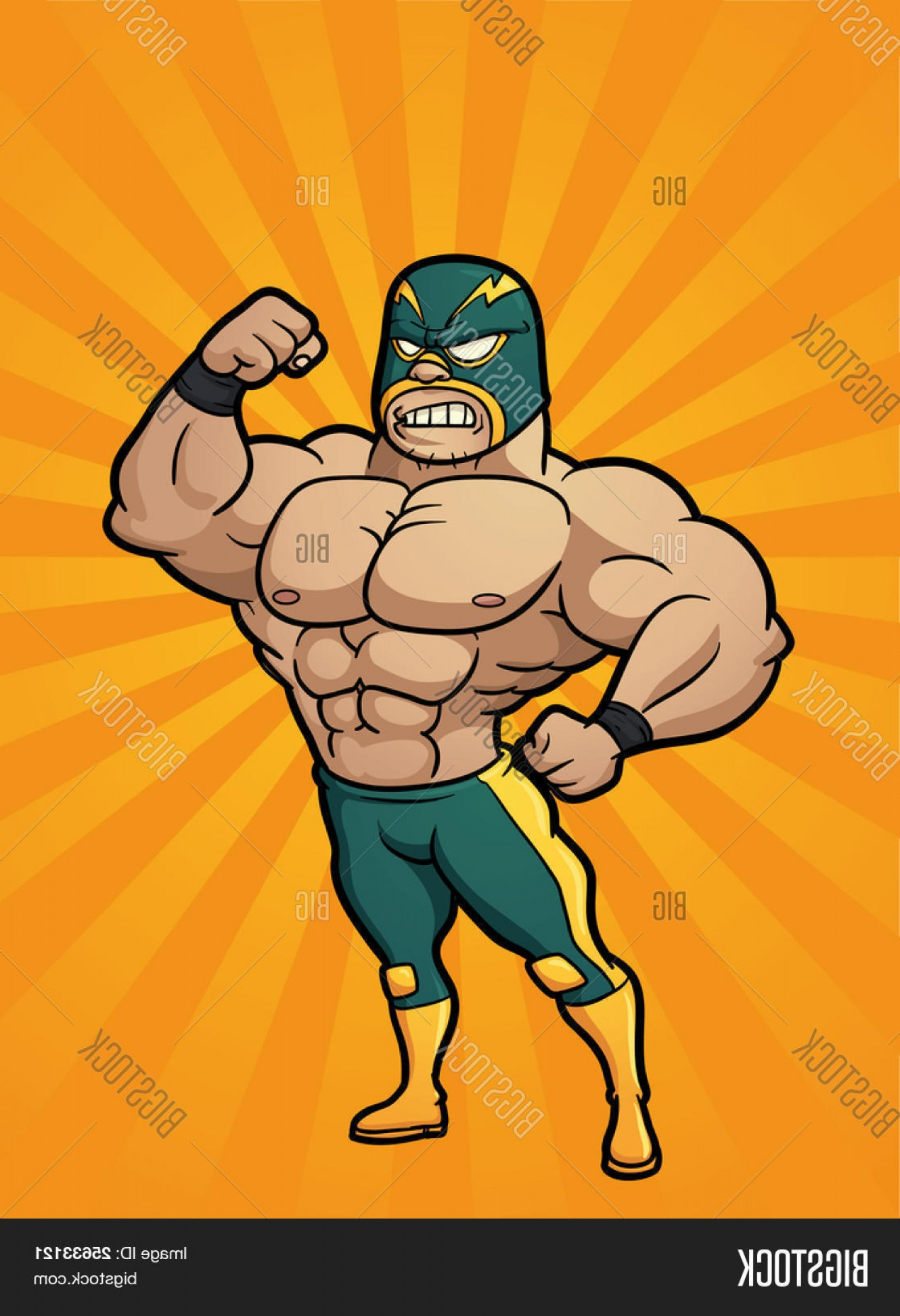 Vector Image Of Strong Wrestler: Stock Vector Strong Cartoon Mexican Wrestler Vector Illustration With Simple Gradients Character And Background