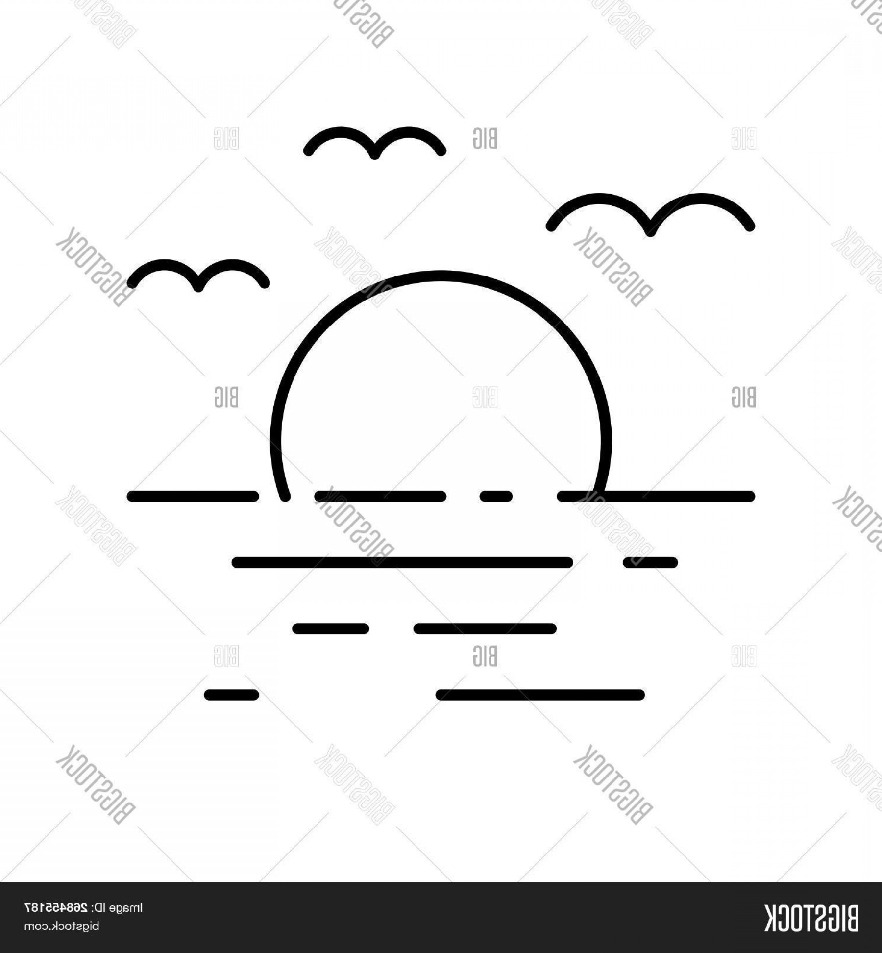 Sunset Beach Vector Outline: Stock Vector Sunset At Sea And Bird Flying In Skyc Beach Scene Outline Vector Icon Pixel Perfect