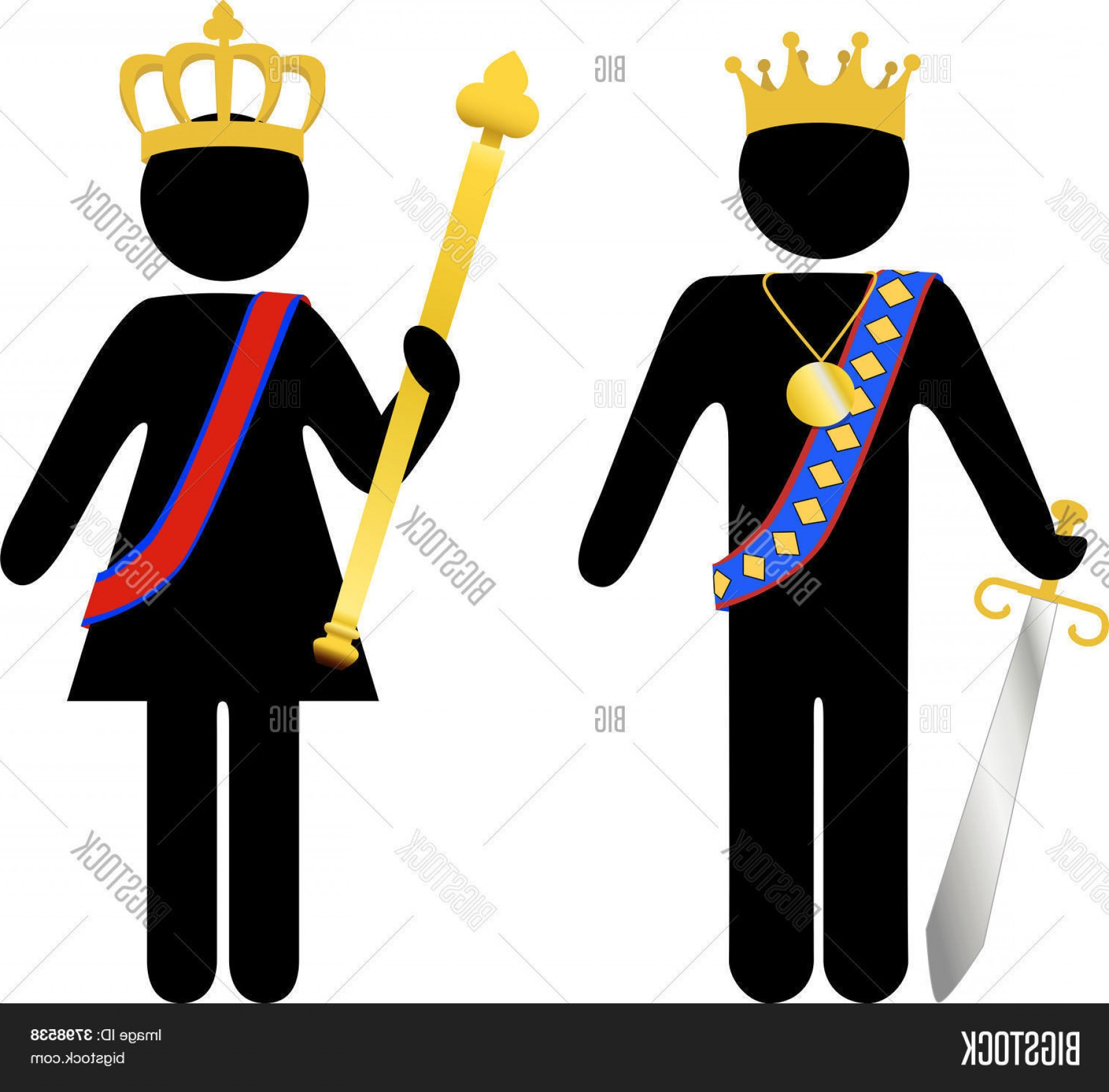 King And Queen Vector: Stock Vector Symbol Person Royal King And Queen With Crowns