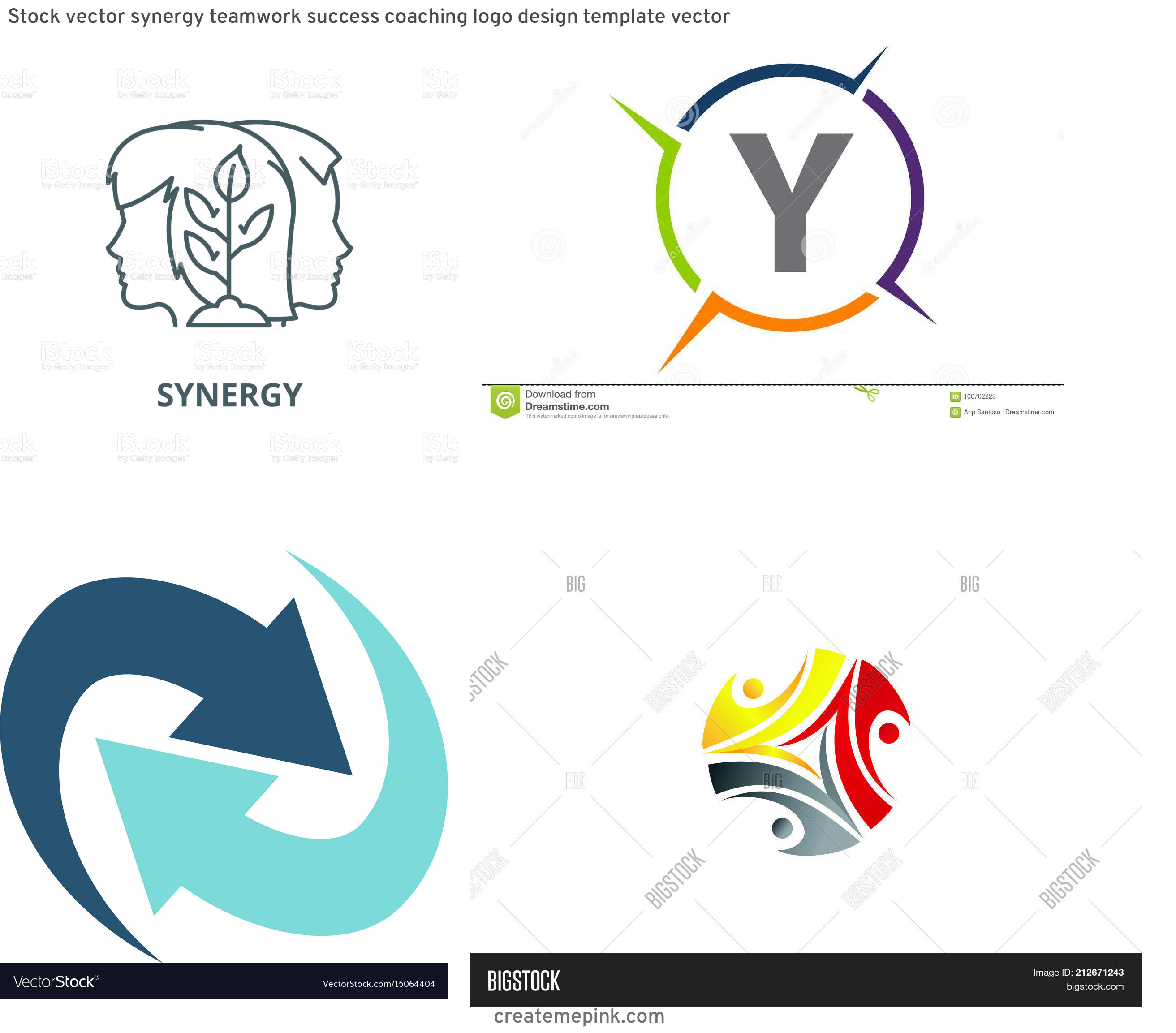 Vector Synergy: Stock Vector Synergy Teamwork Success Coaching Logo Design Template Vector