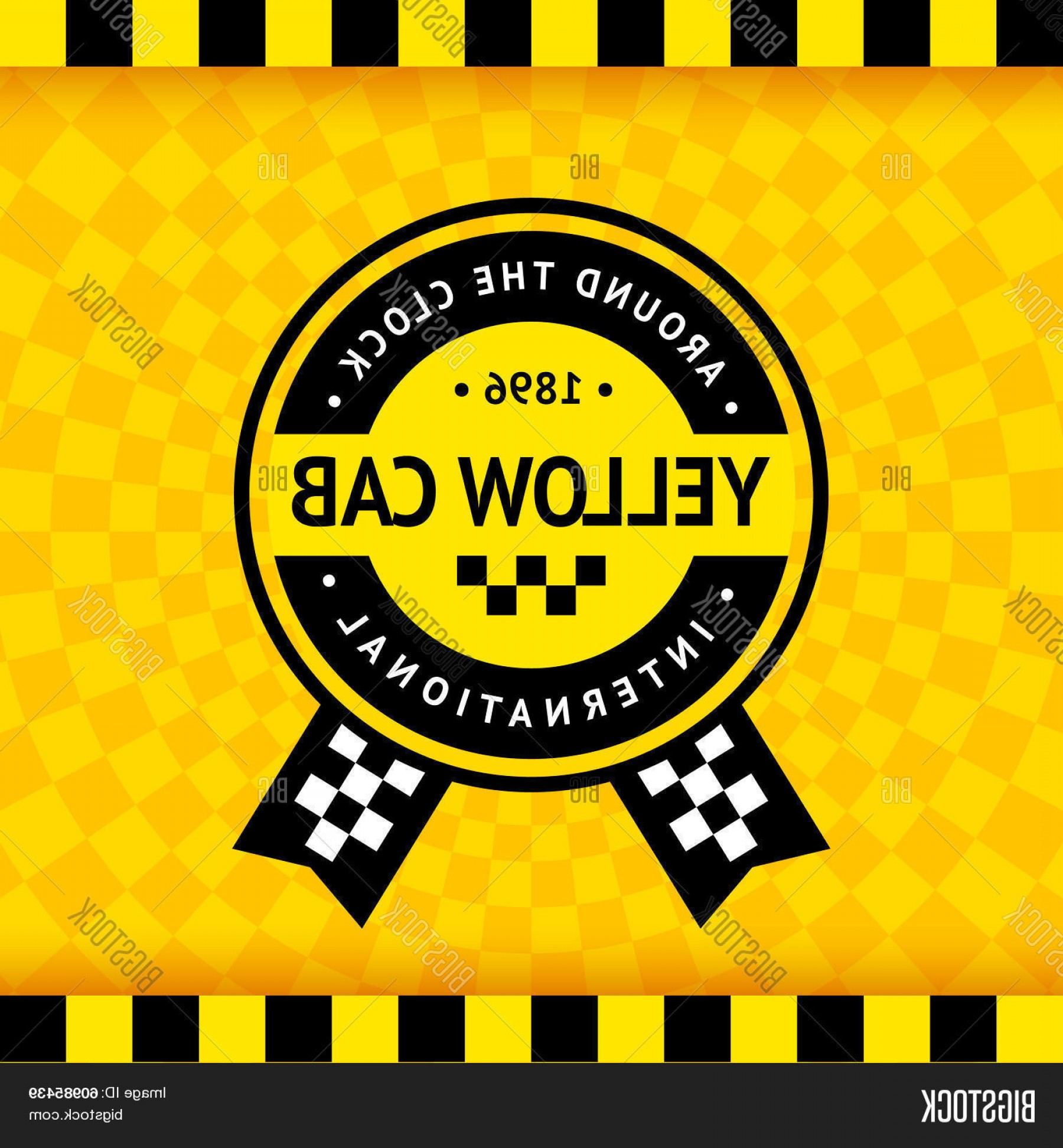 Taxi Checkers Vector: Stock Vector Taxi Symbol With Checkered Background