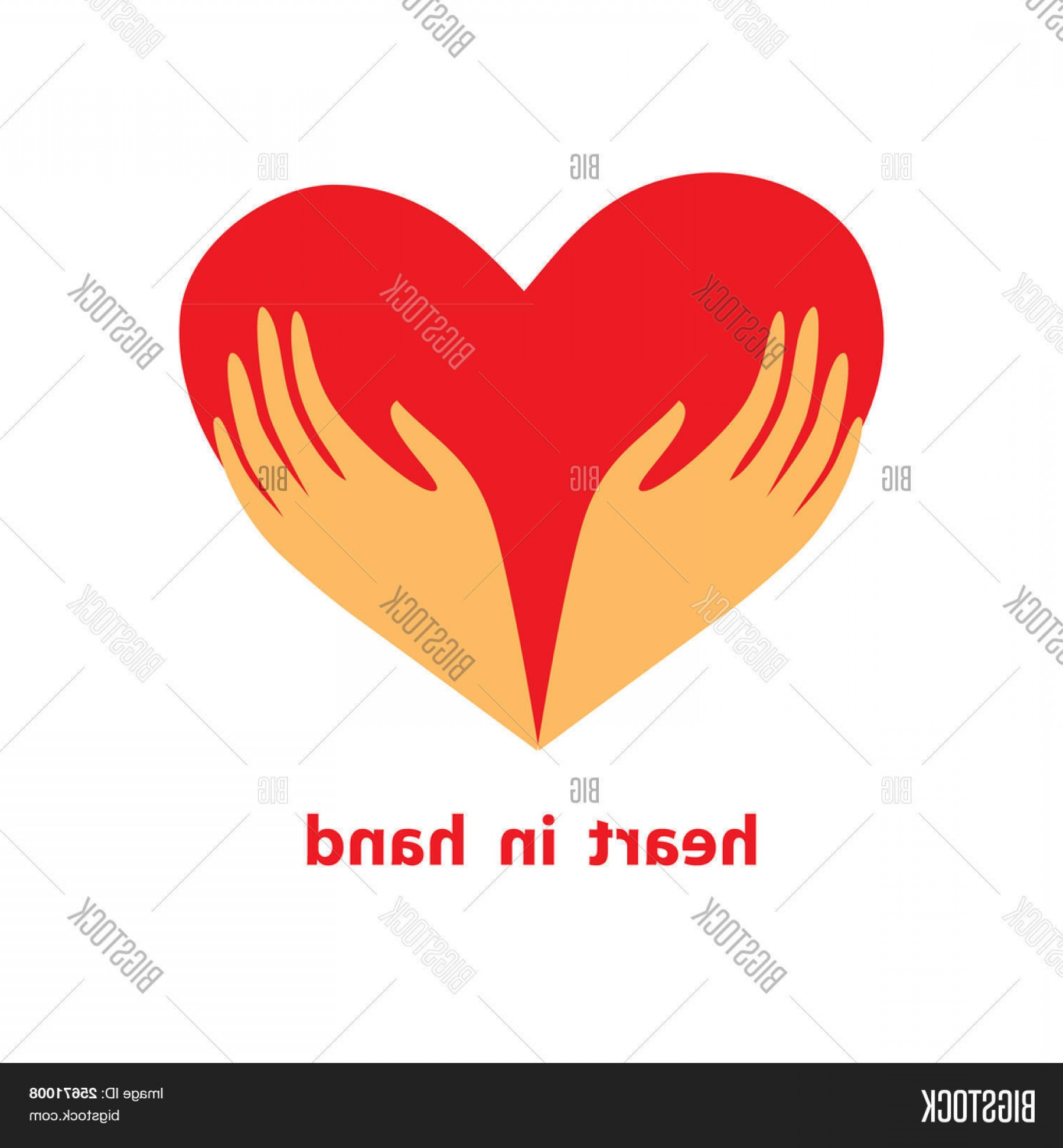 Heart In Hand Vector Clip Art: Stock Vector Template Of The Sign Heart In His Hands Symbol Lovec Carec Supportc Donatec Loyalty And Help Vector
