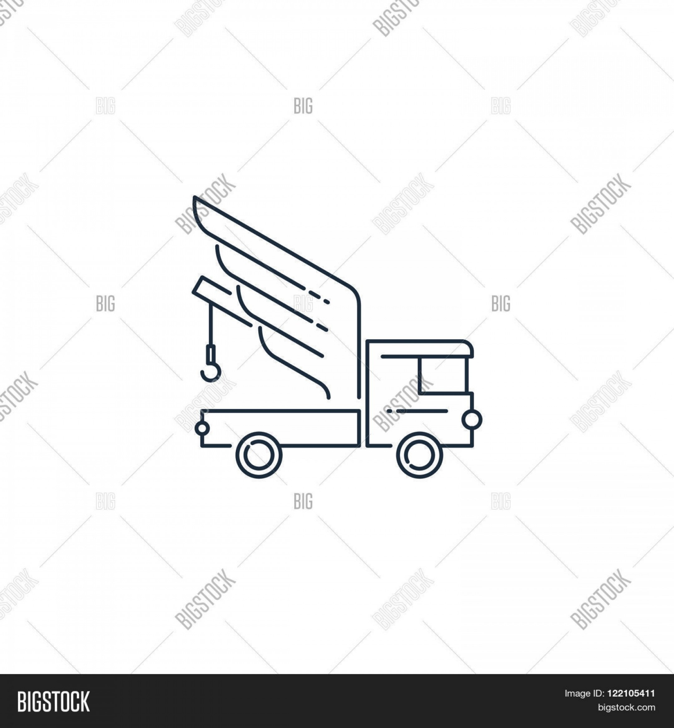 Towing Truck Hook Vector: Stock Vector Tow Truck Road Service Linear Design Logo