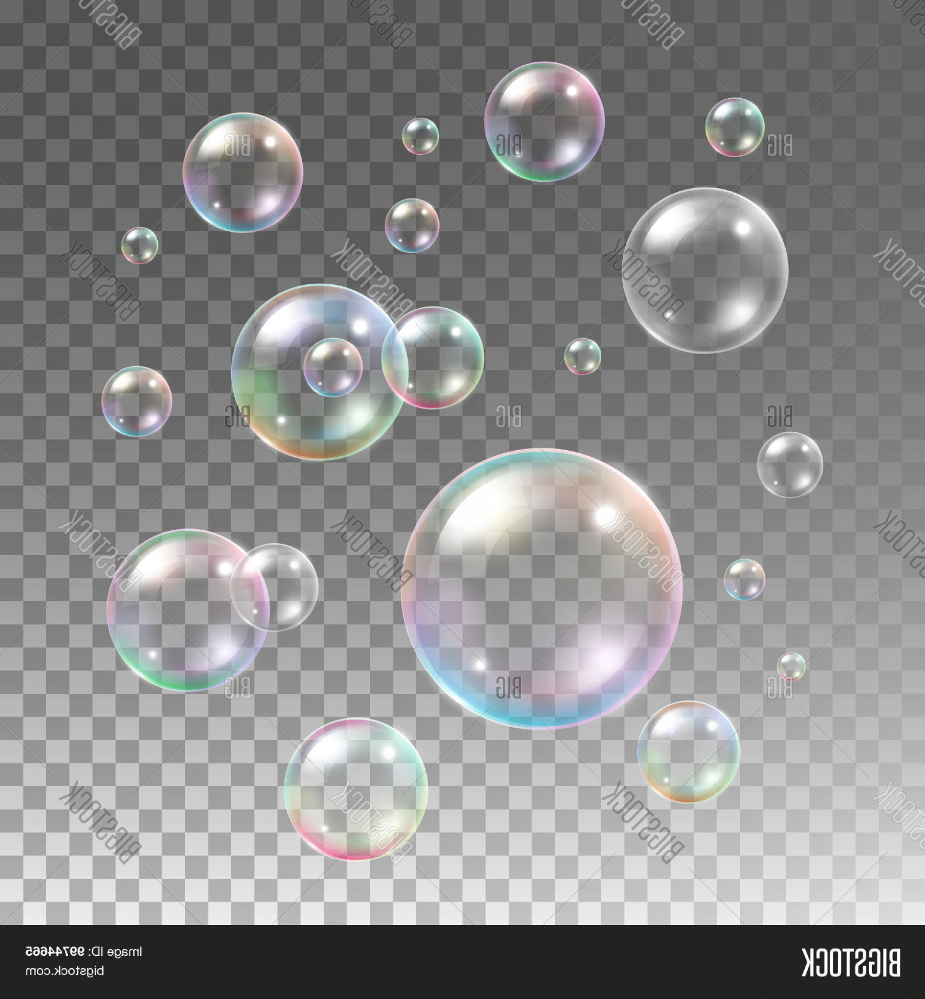 Vector Bubbles Circle: Stock Vector Transparent Multicolored Soap Bubbles Vector Set On Plaid Background