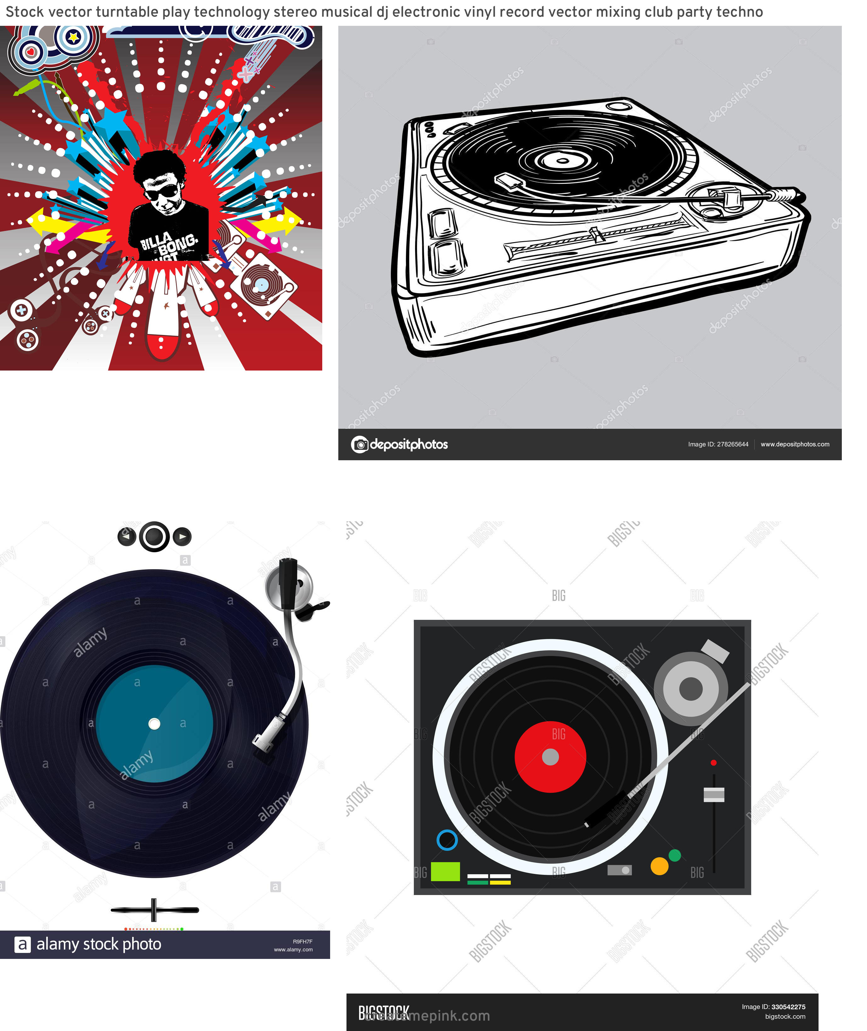 Funk Vector Turntables: Stock Vector Turntable Play Technology Stereo Musical Dj Electronic Vinyl Record Vector Mixing Club Party Techno