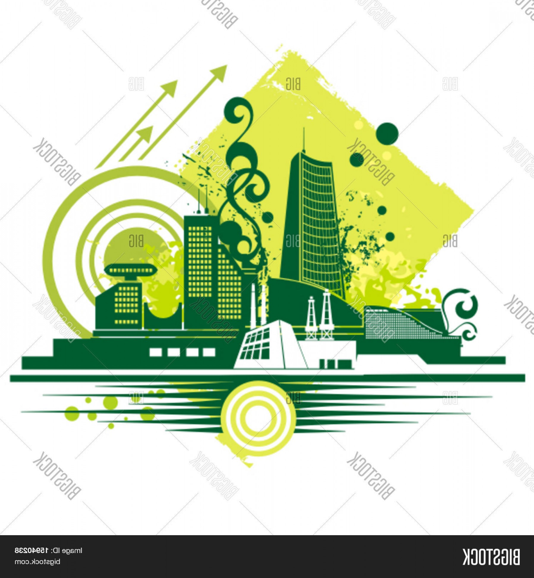 Swirl Arrow Clip Art Vector: Stock Vector Urban Buildings Background Seriesc Vector Illustration With Grungec Arrowc Swirl And Circle Details