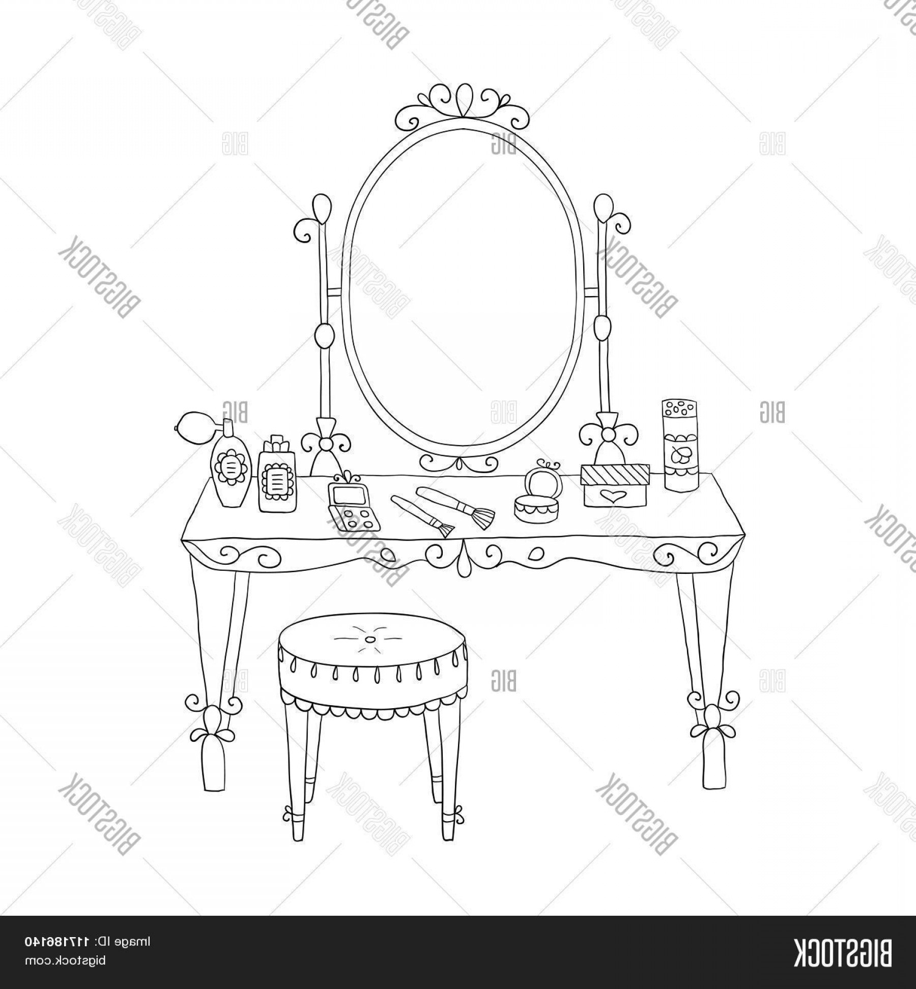 Vector Makeup Vanity Table: Stock Vector Vanity Table With Makeup And A Chair