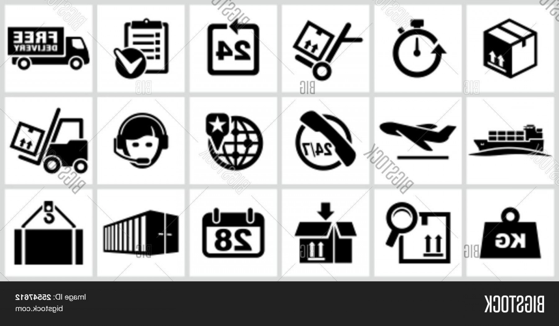 Cut Symbol Vector: Stock Vector Vector Black Logistics And Shipping Icons Set All White Areas Are Cut Away From Icons And Black Areas Merged