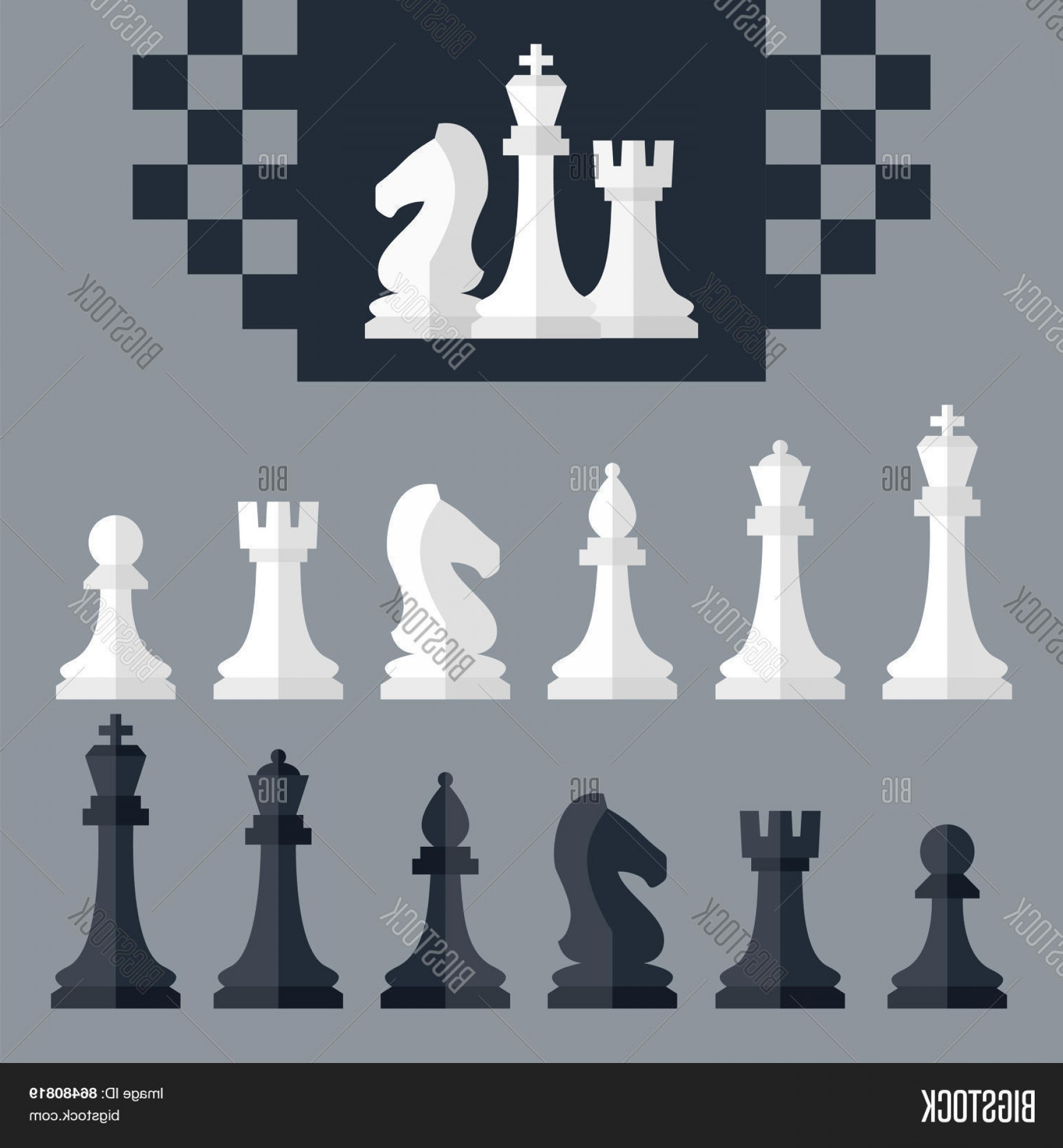 Vector Chess Board: Stock Vector Vector Chess Pieces Icons Setc Flat Style