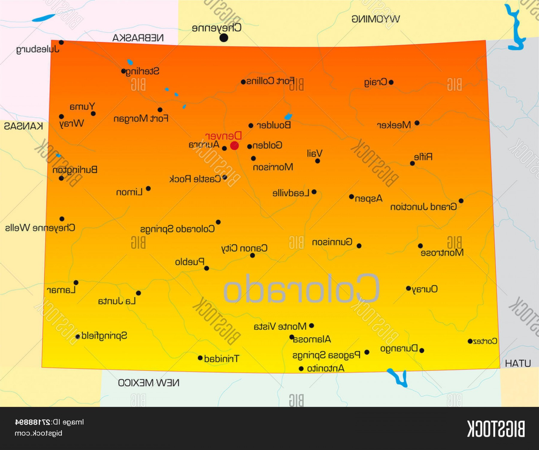 Colorado State Vector Maps: Stock Vector Vector Color Map Of Colorado State Usa