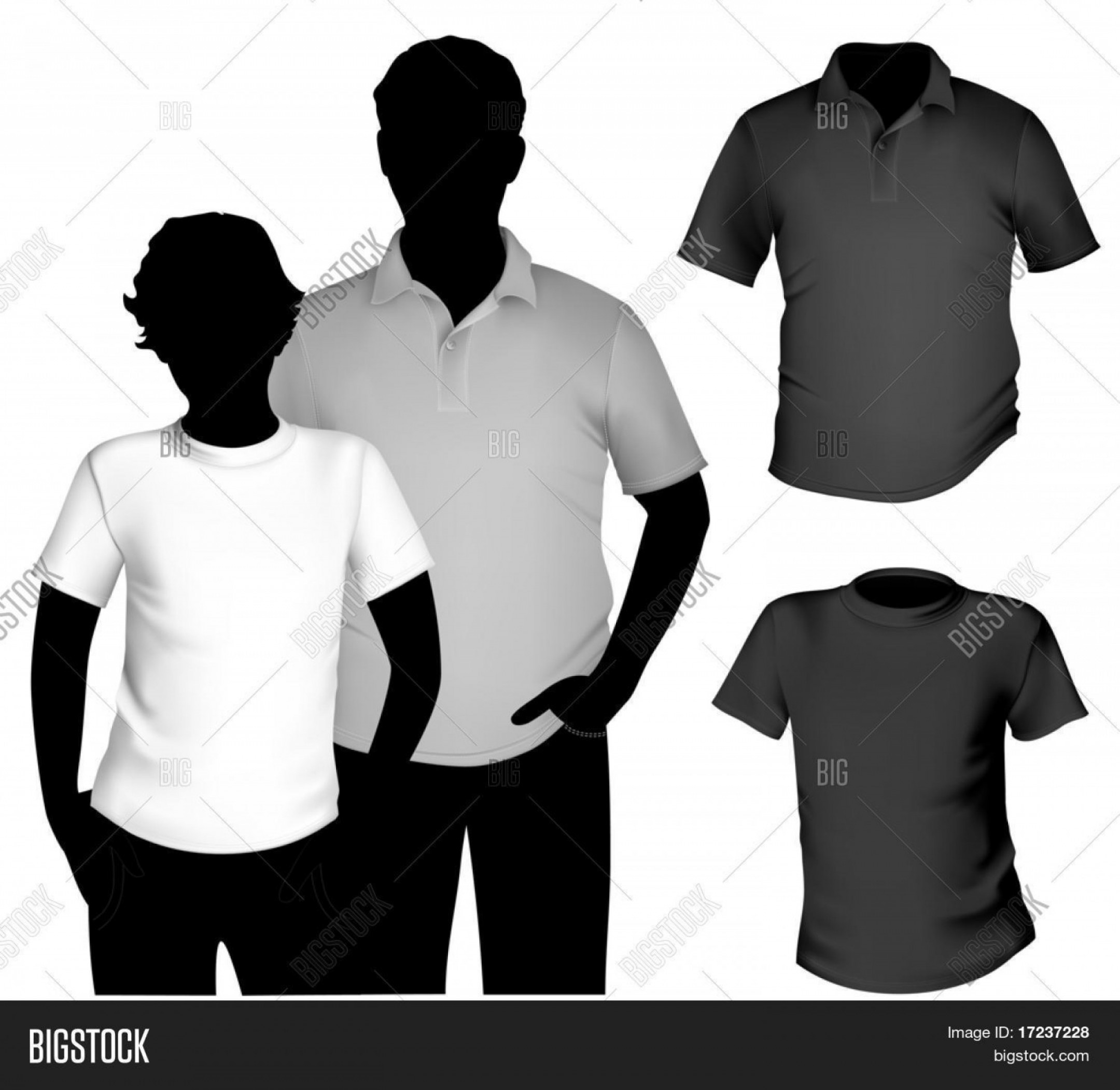 Vector Woman Black Crew Shirt: Stock Vector Vector Men S Black And White T Shirt And Polo Shirt Template With Human Body Silhouette
