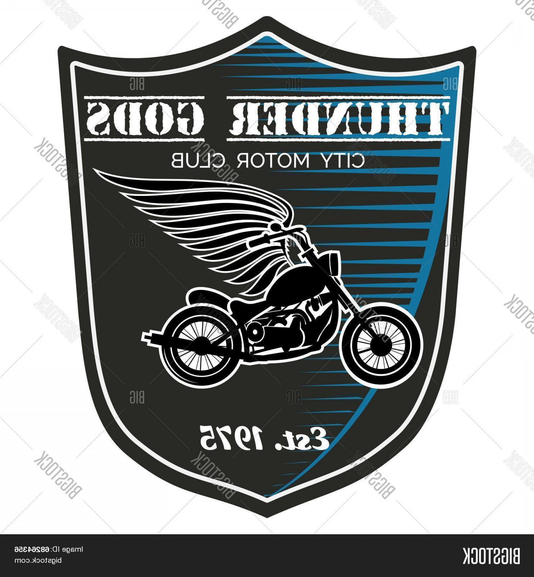Motorcycle Club Vector: Stock Vector Vector Motorcycle Club Label Thunder Gods