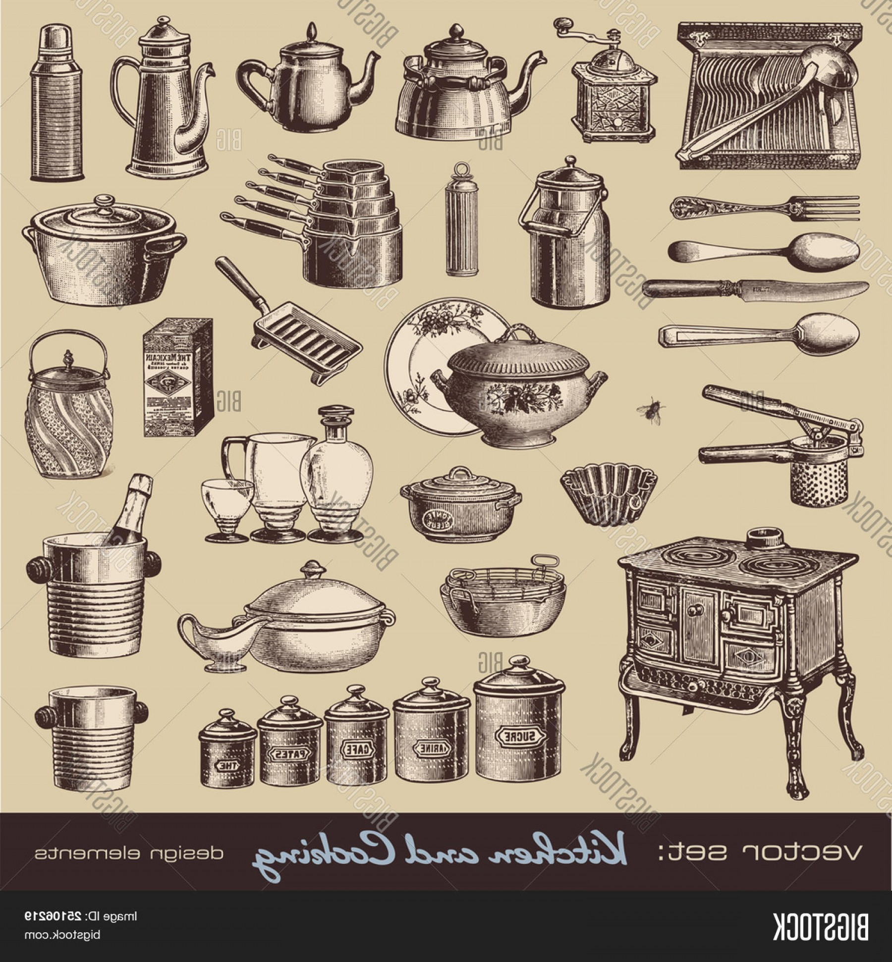Vector Vintage Kitchen: Stock Vector Vector Seta Kitchen And Cooking Collection Of Vintage Kitchen Items And Tableware