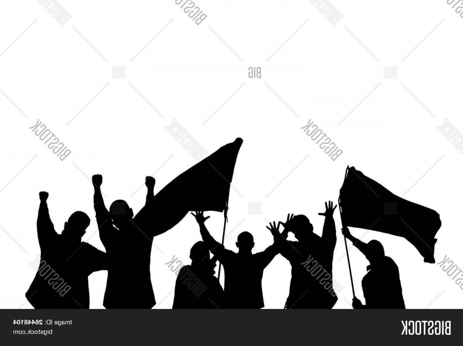Vector Sports Crowd Cheering: Stock Vector Vector Silhouette From Some Sport Fans