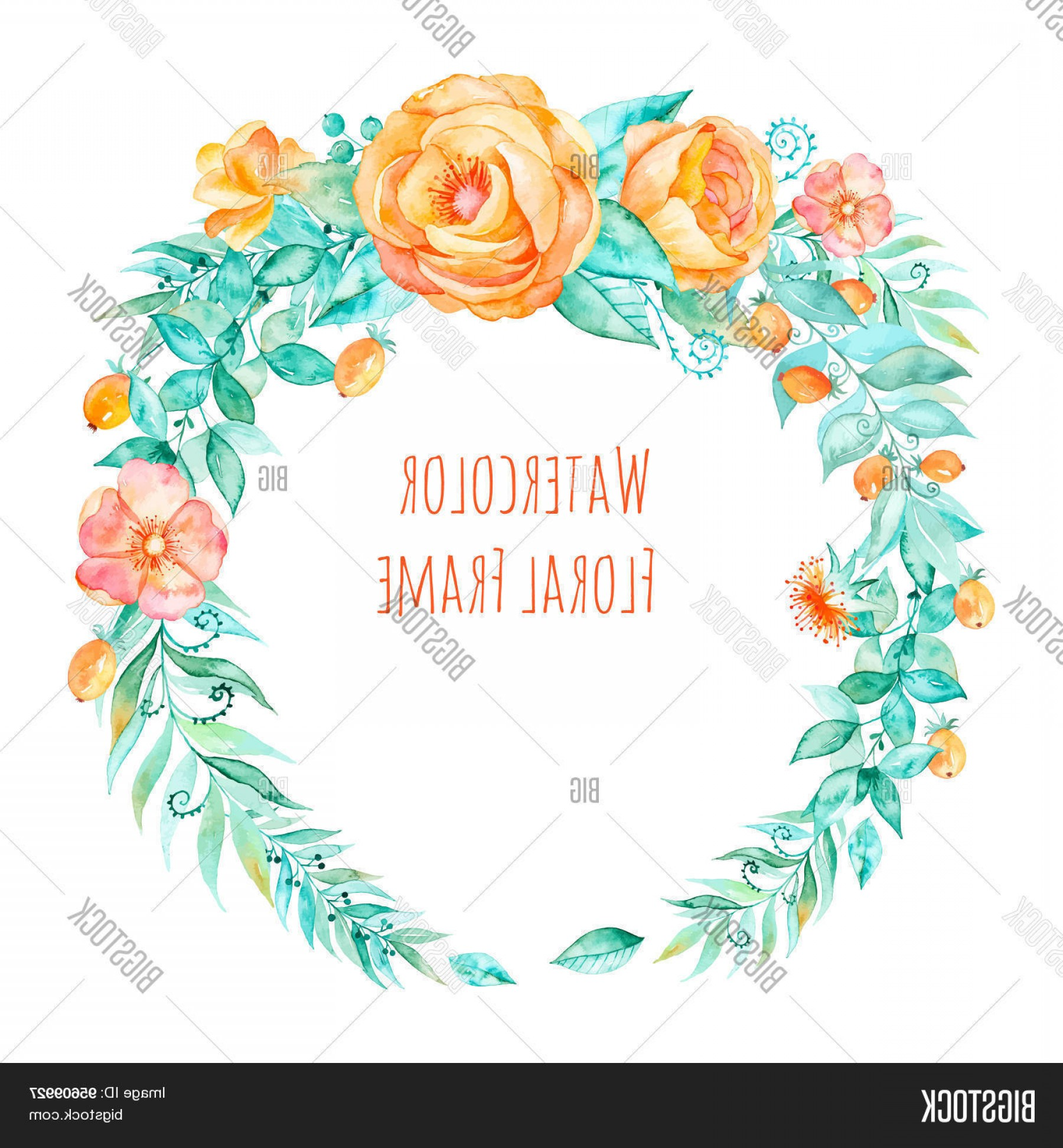 Summer Wreath Free Vector Watercolor: Stock Vector Vector Watercolor Colorful Round Framecfloral Wreath With Spring Summer Flowers And Central White Co