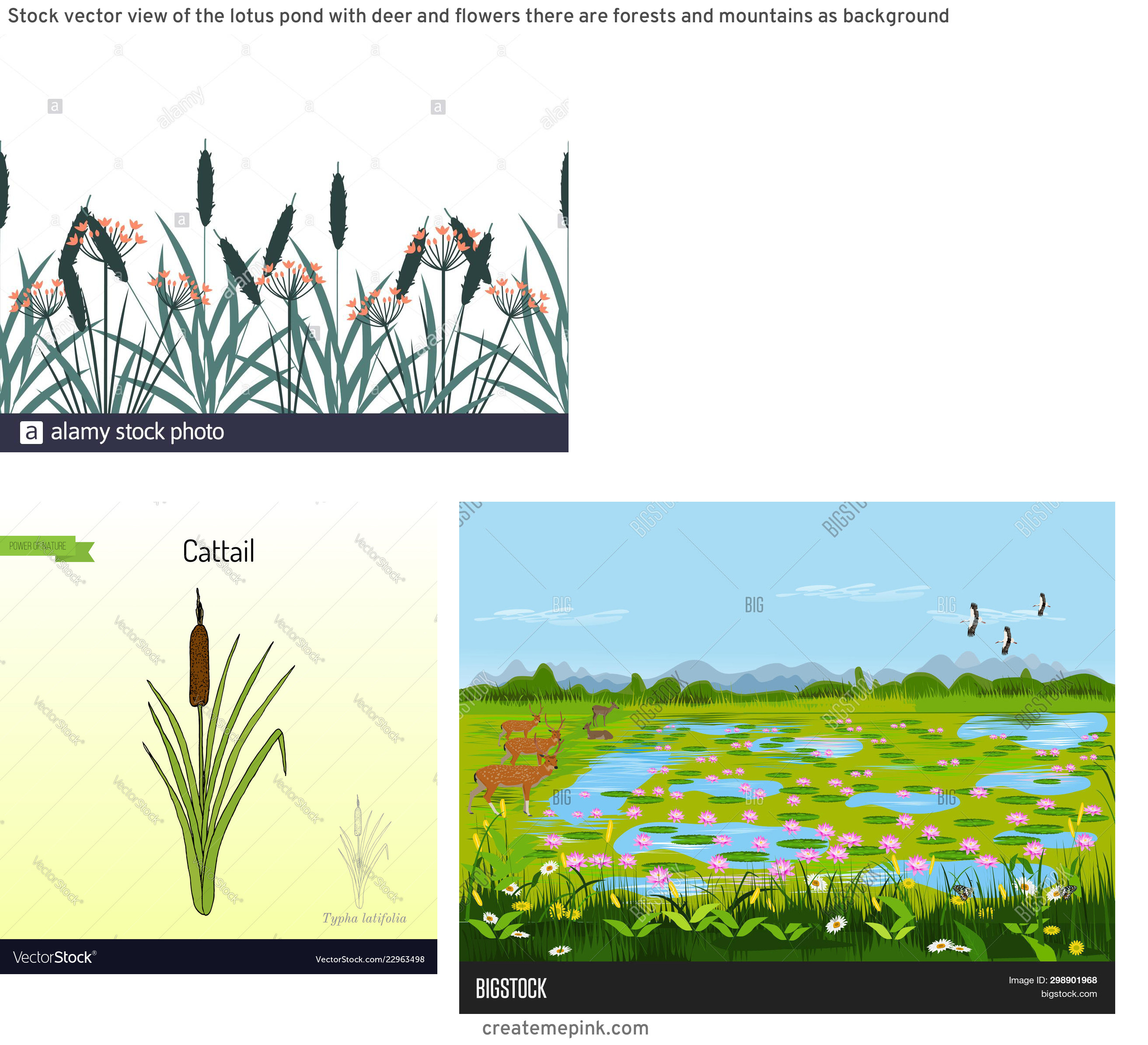 Vector Wetland: Stock Vector View Of The Lotus Pond With Deer And Flowers There Are Forests And Mountains As Background