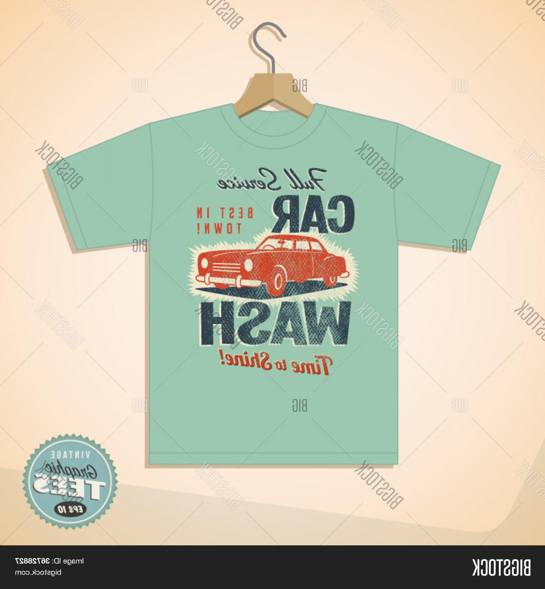 Car Wash Vector Graphics: Stock Vector Vintage Graphic T Shirt Design Car Wash Vector Eps Grunge Effects Can Be Easily Removed For A Cleaner Look
