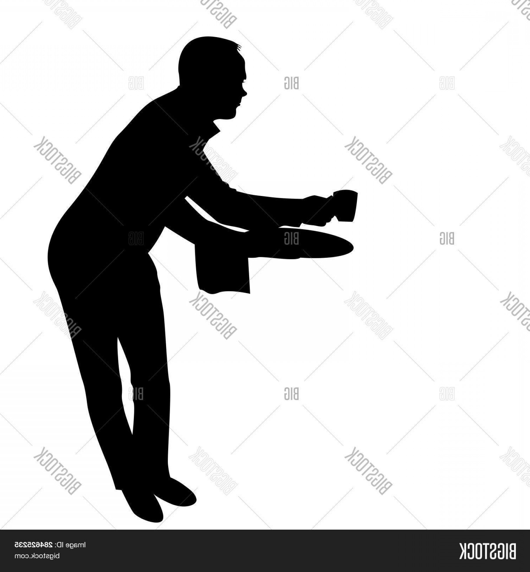 Vector Waiter Coffee: Stock Vector Waiter Silhouette Serving A Cup Coffee On White Background