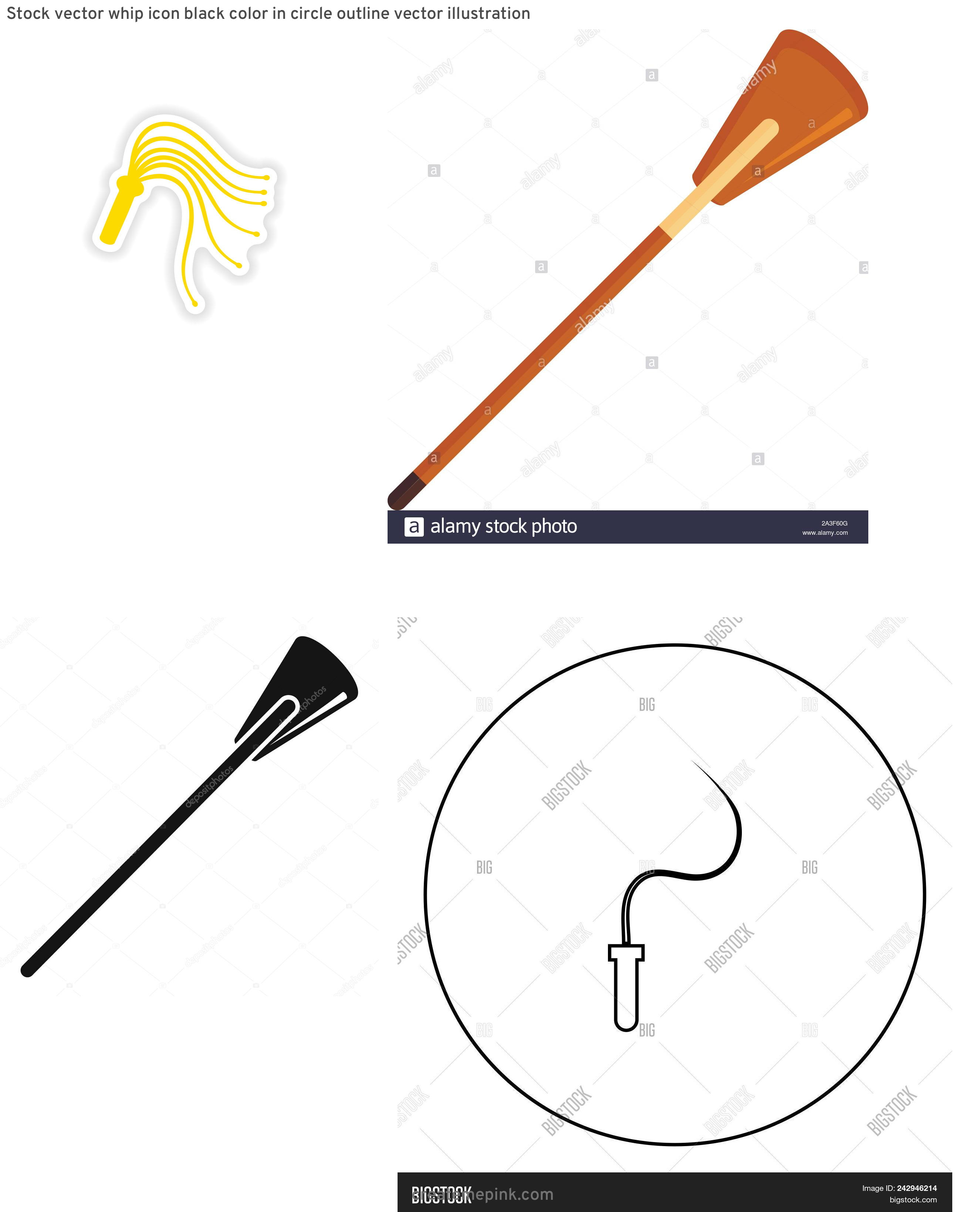 Whip Vector: Stock Vector Whip Icon Black Color In Circle Outline Vector Illustration