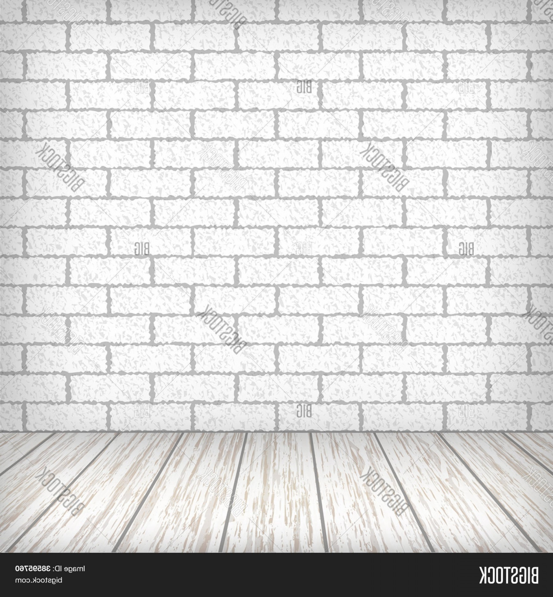 Vector Black Wood Floor: Stock Vector White Brick Wall With Wooden Floor In A Vintage Interior Vector Eps Illustration