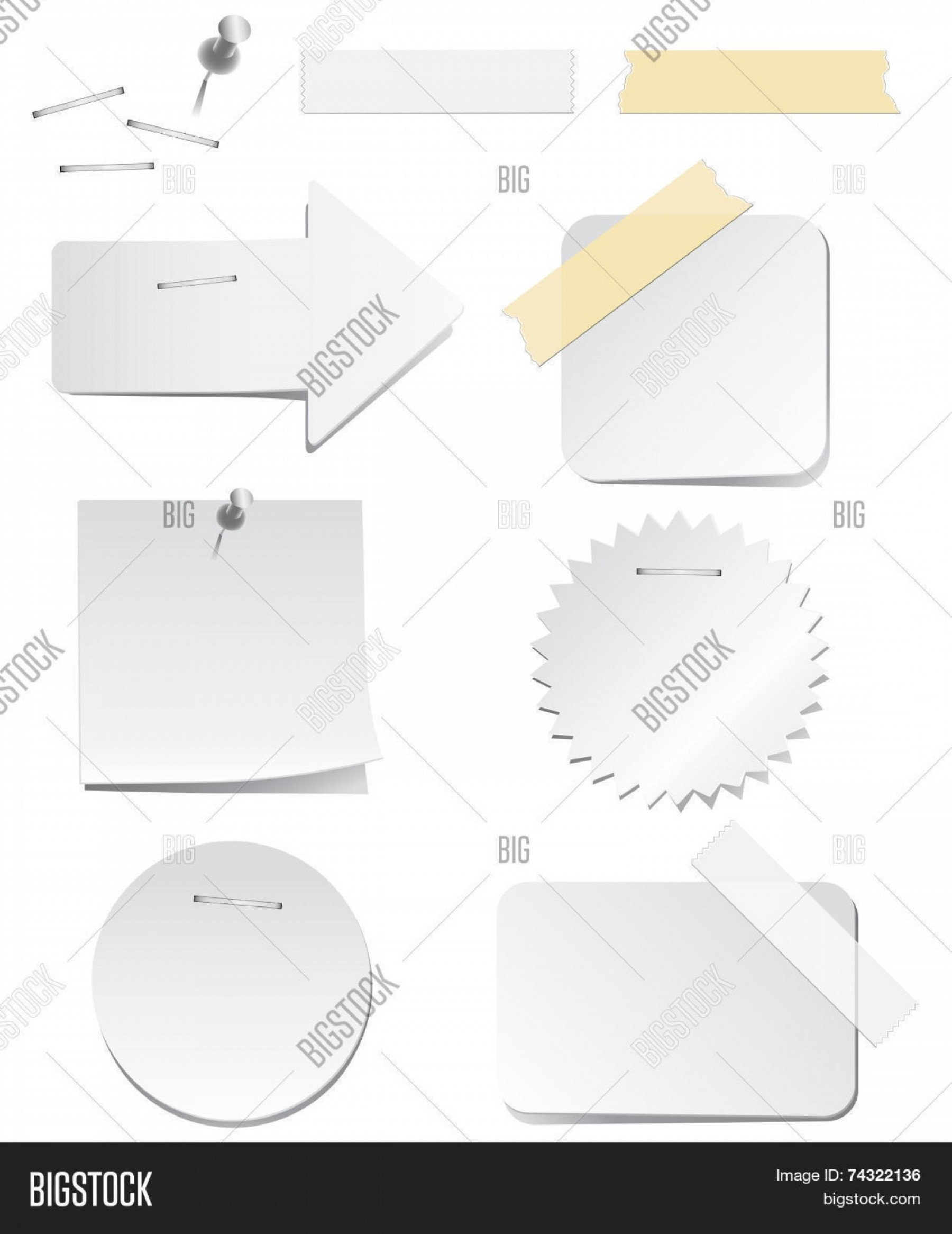 White Staples Vector Logo: Stock Vector White Labels With Staples And Tape