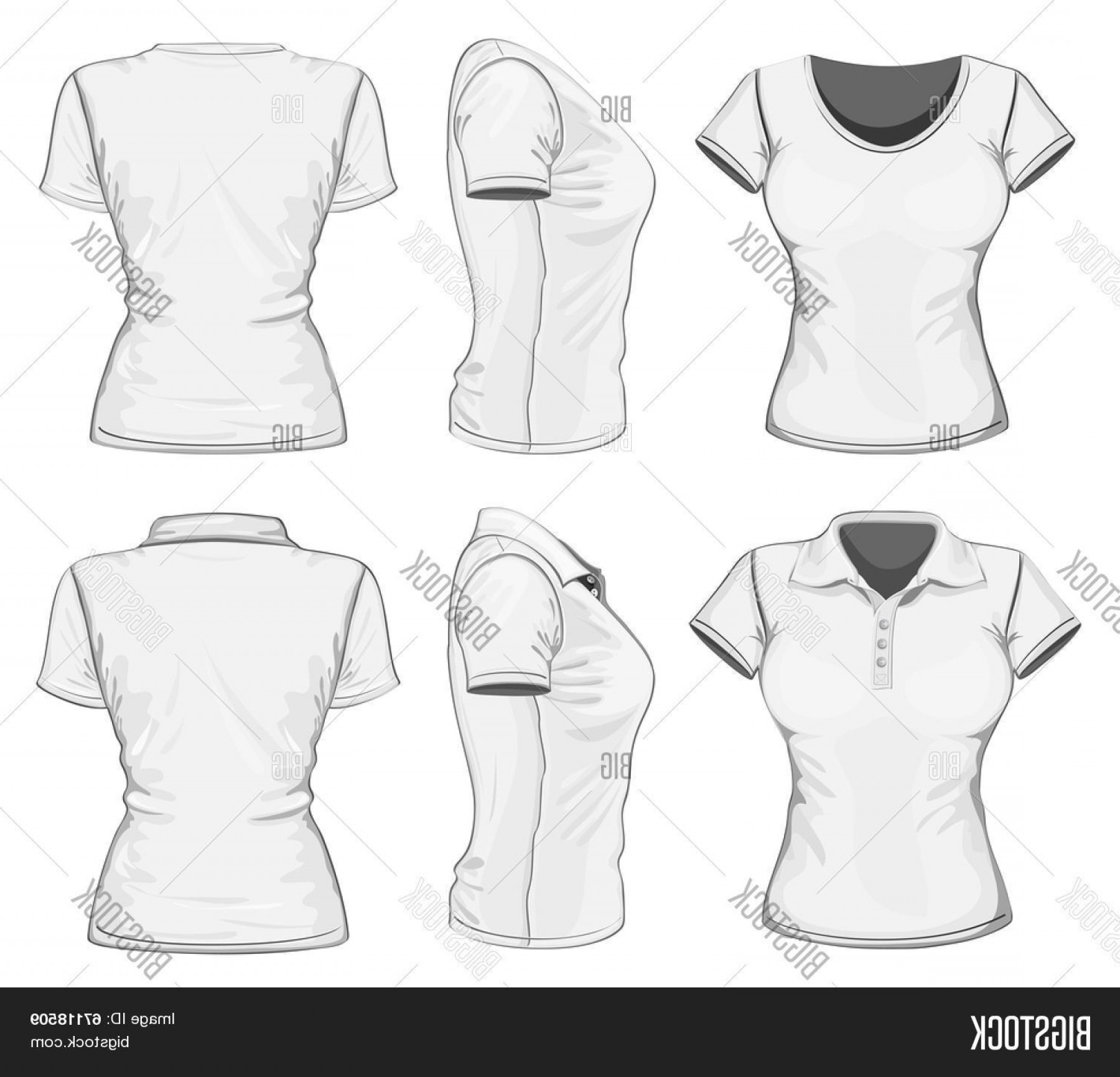 Female Polo Shirt Vector Template: Stock Vector Women S White Short Sleeve Polo Shirt And T Shirt Design Templates Frontc Backc And Side Views Vector Illustration