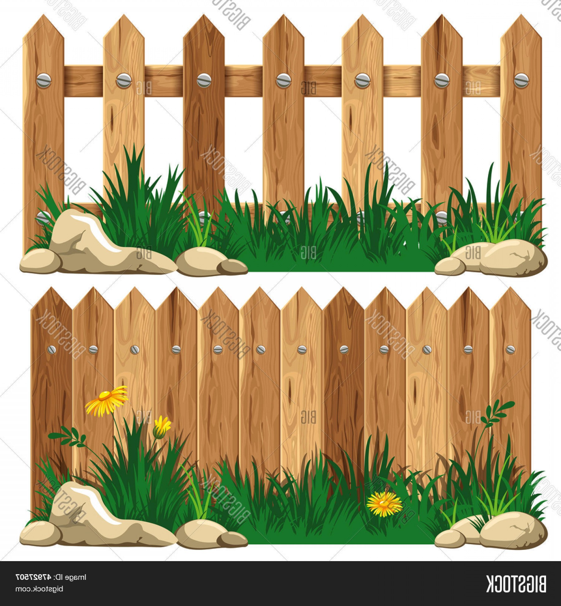 Outdoor Fence Vector: Stock Vector Wooden Fence And Grass Vector Illustration