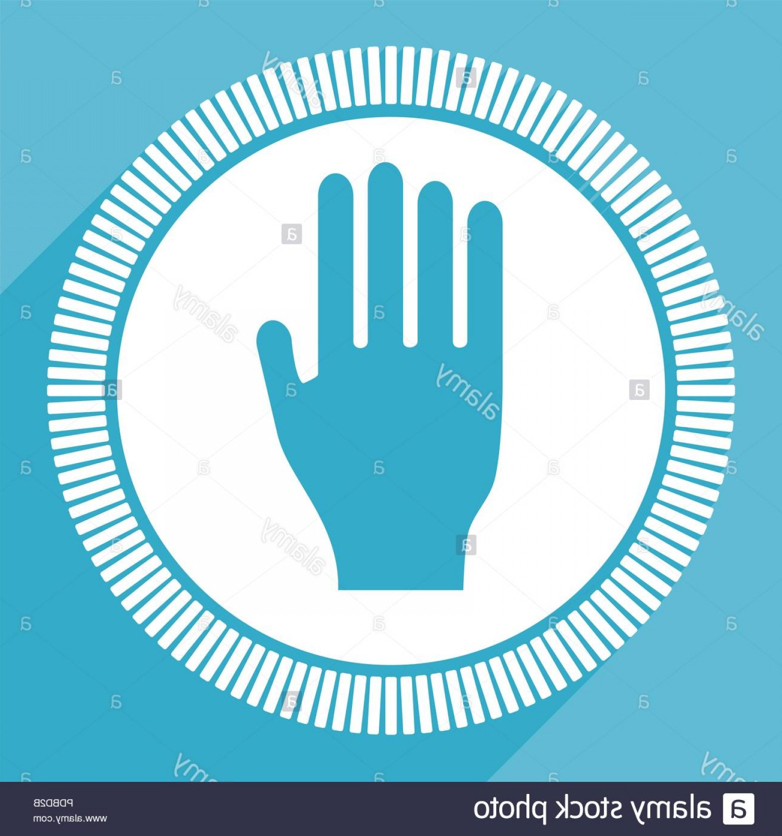 Hand Stop Vector Teal: Stop Editable Flat Vector Icon Hand Square Web Button Palm Blue Computer And Smartphone Application Sign In Eps Image